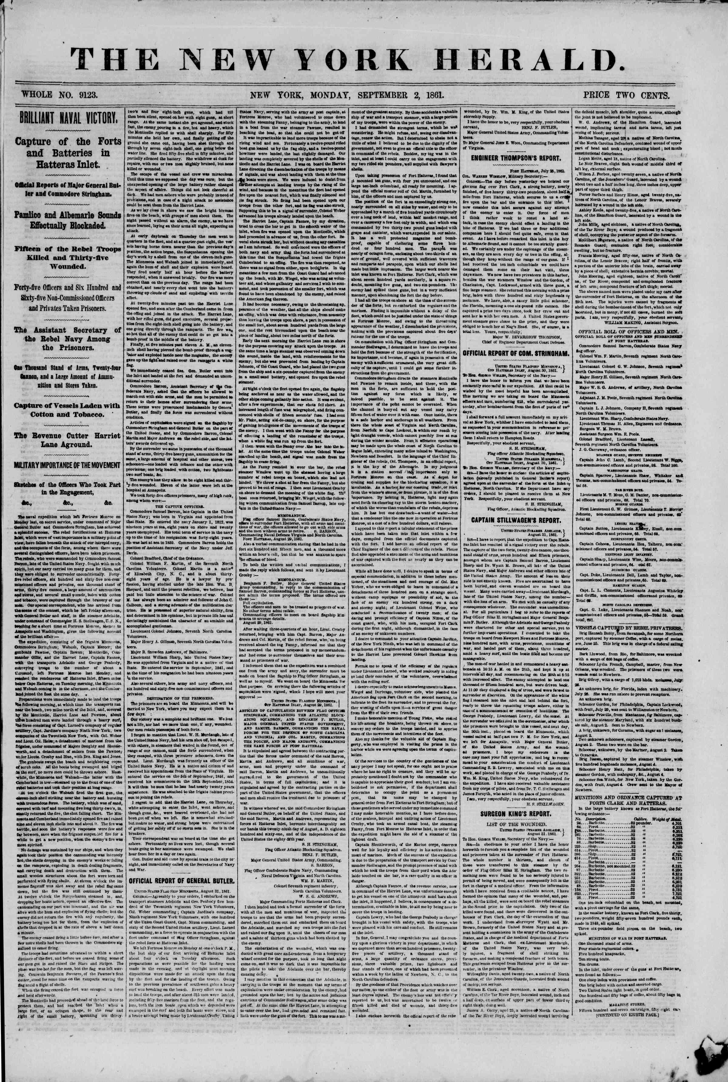 Newspaper of The New York Herald dated September 2, 1861 Page 1