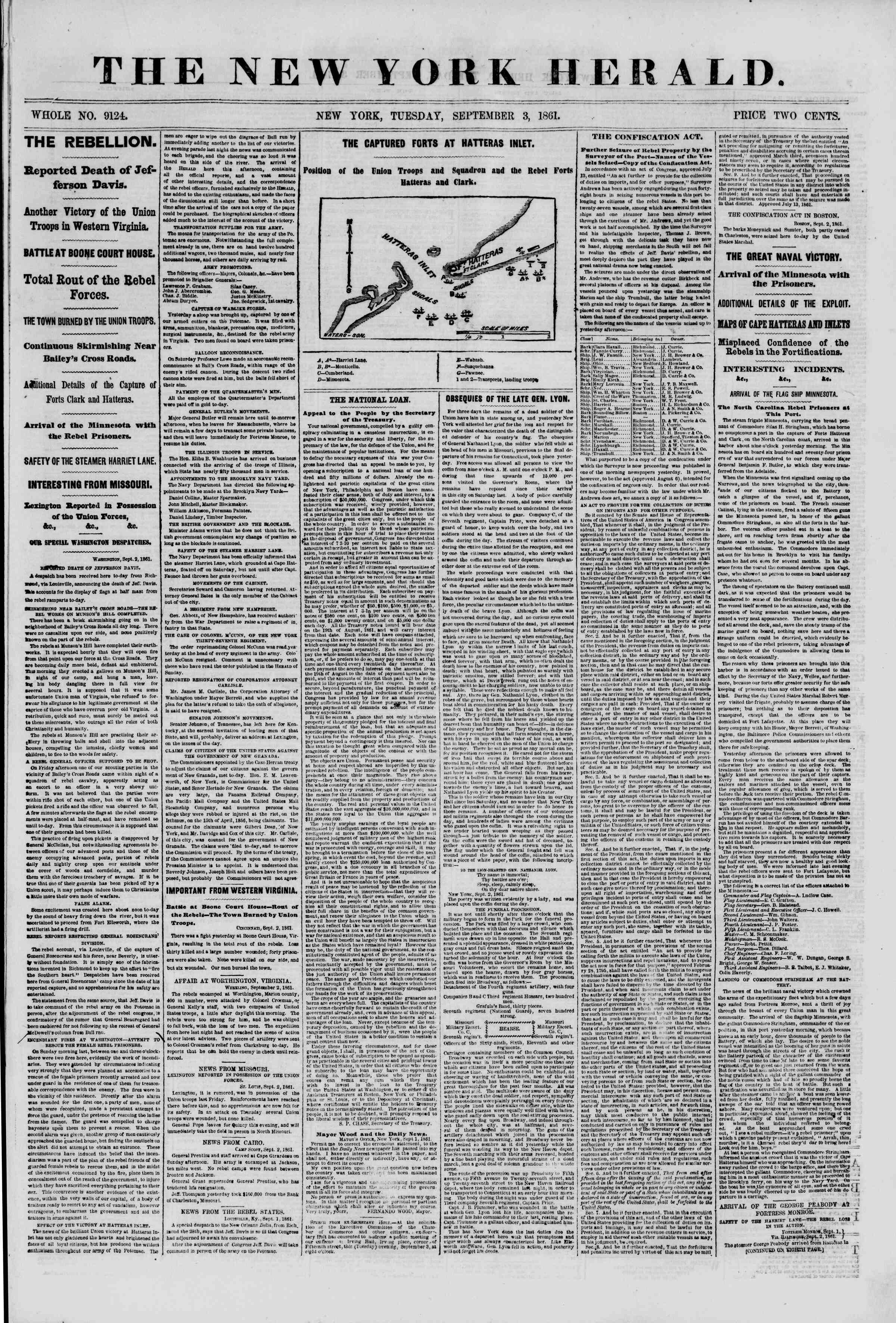 Newspaper of The New York Herald dated September 3, 1861 Page 1