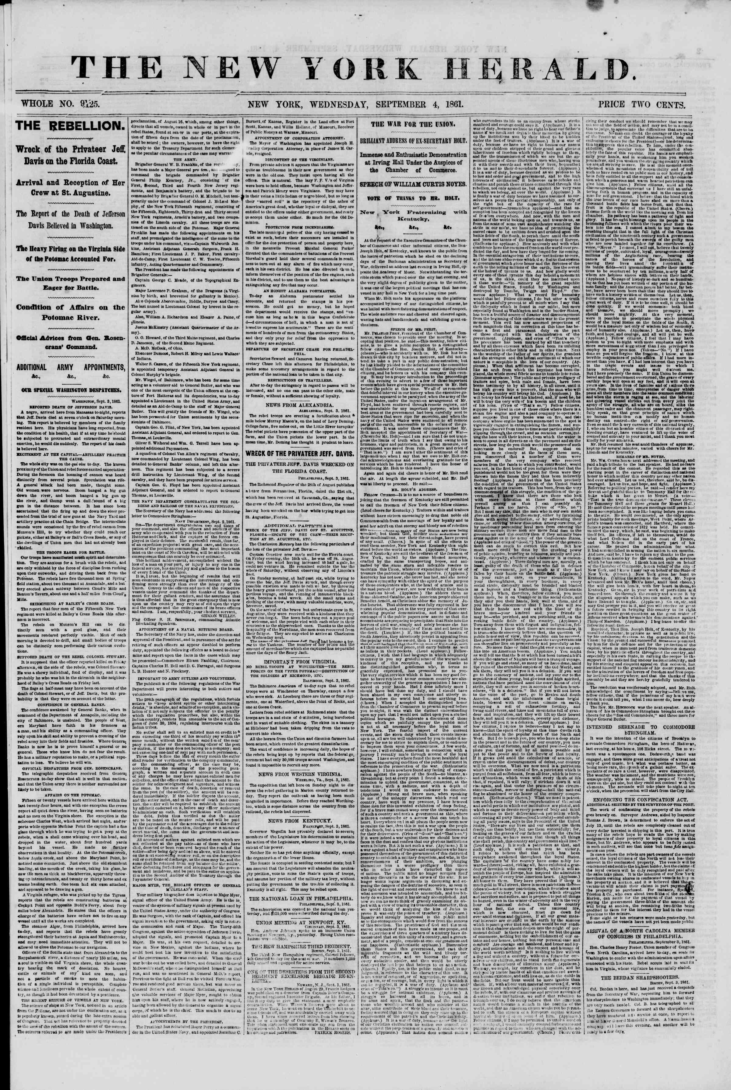 Newspaper of The New York Herald dated September 4, 1861 Page 1