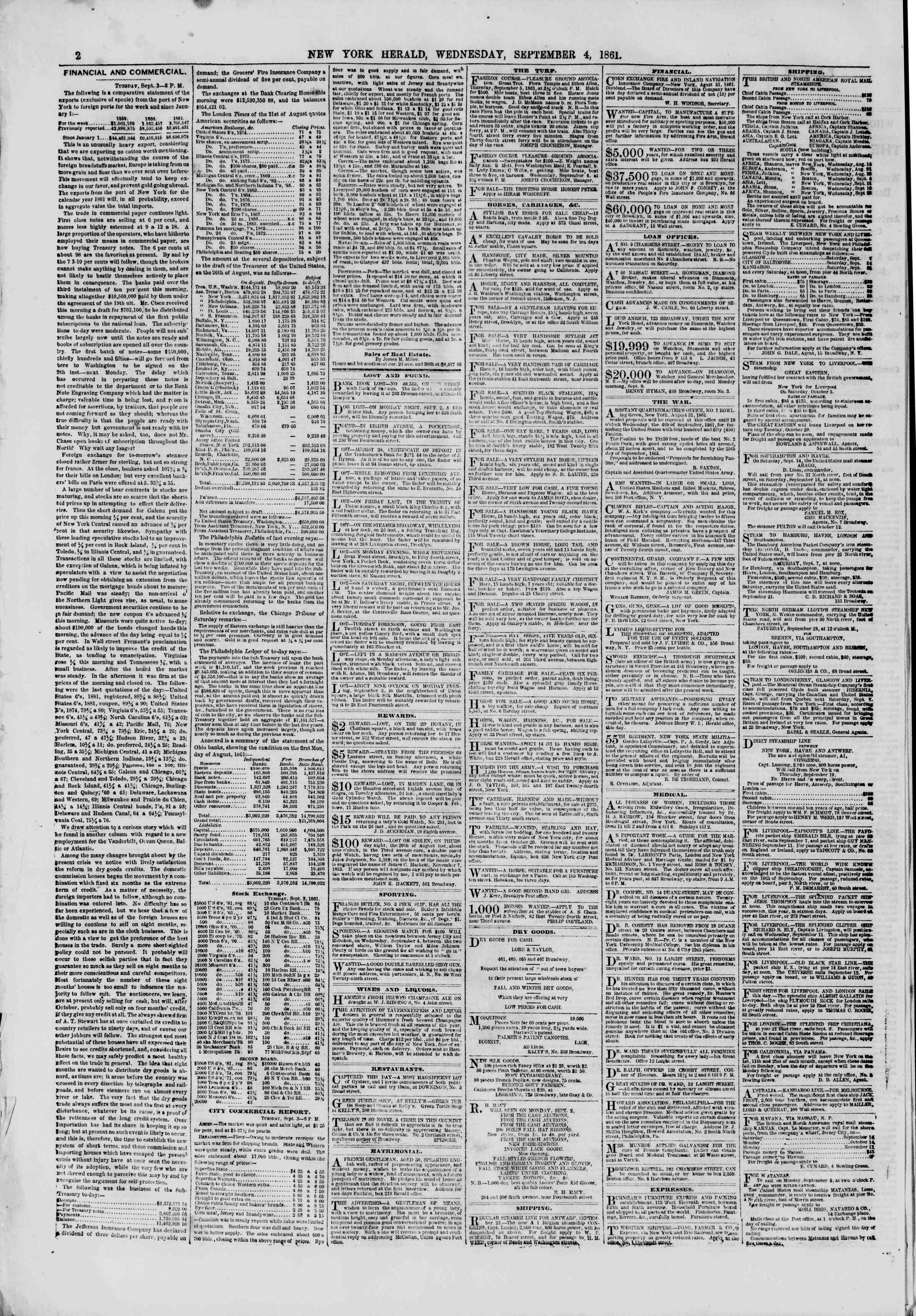 Newspaper of The New York Herald dated September 4, 1861 Page 2