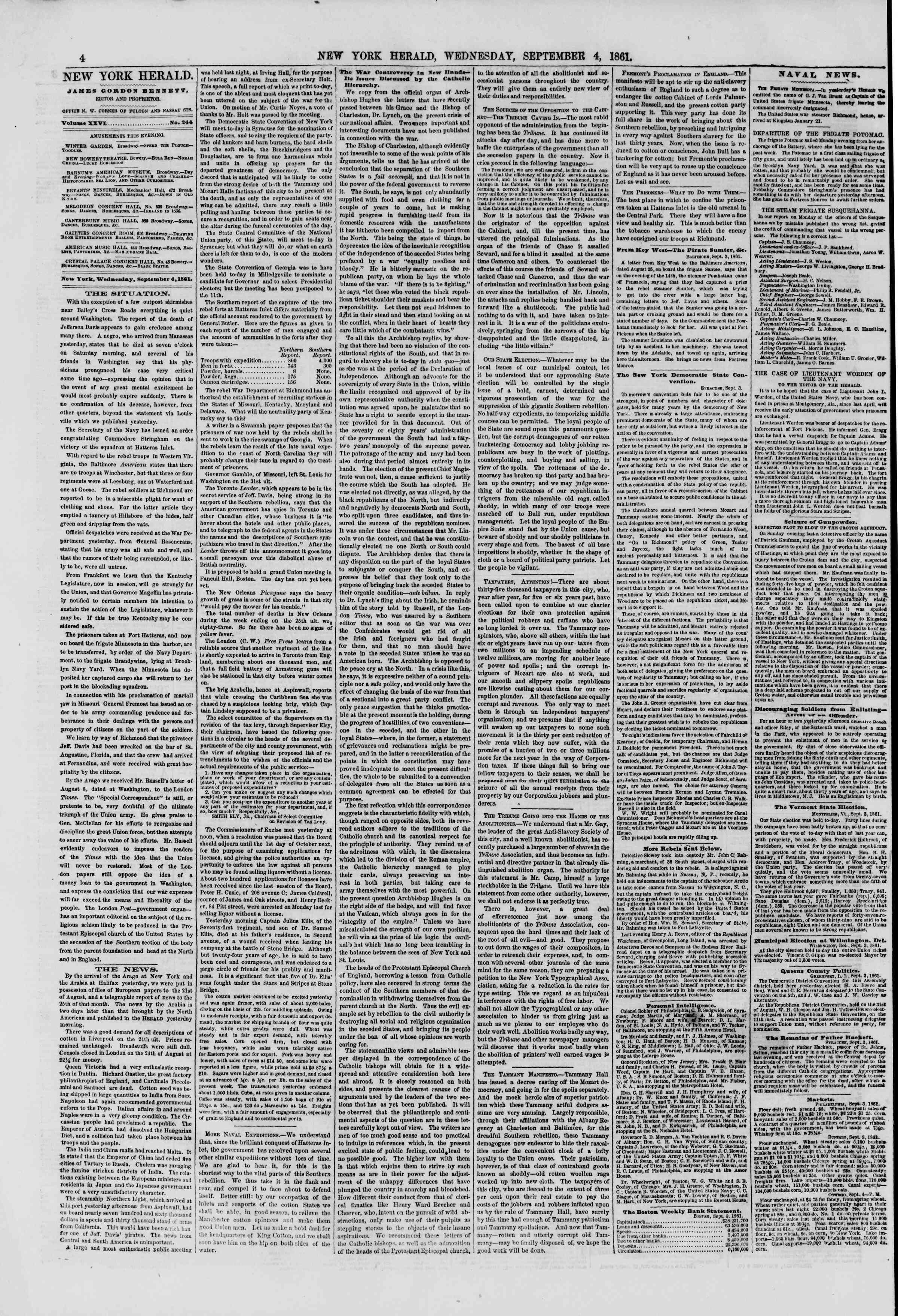 Newspaper of The New York Herald dated September 4, 1861 Page 4