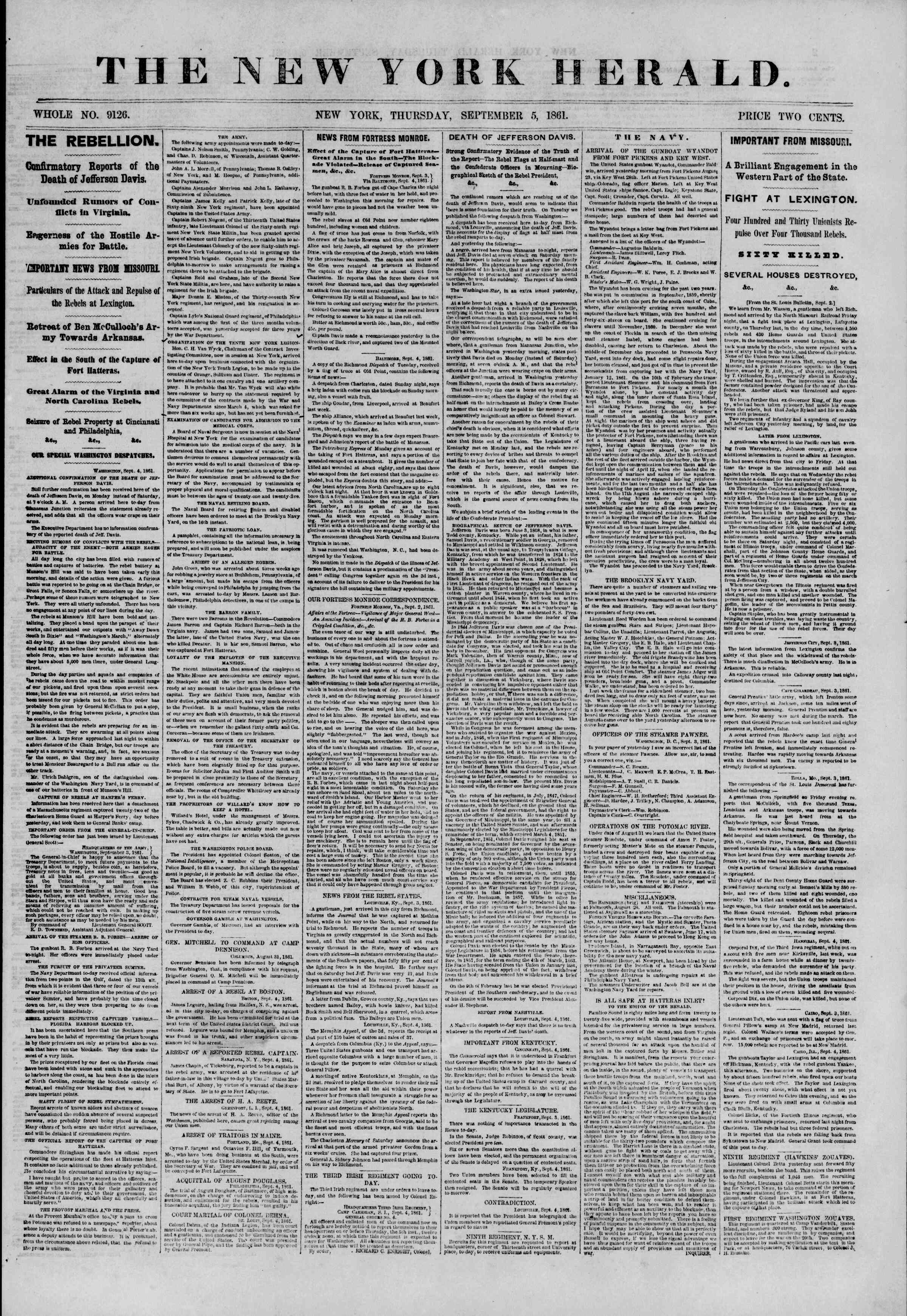 Newspaper of The New York Herald dated September 5, 1861 Page 1