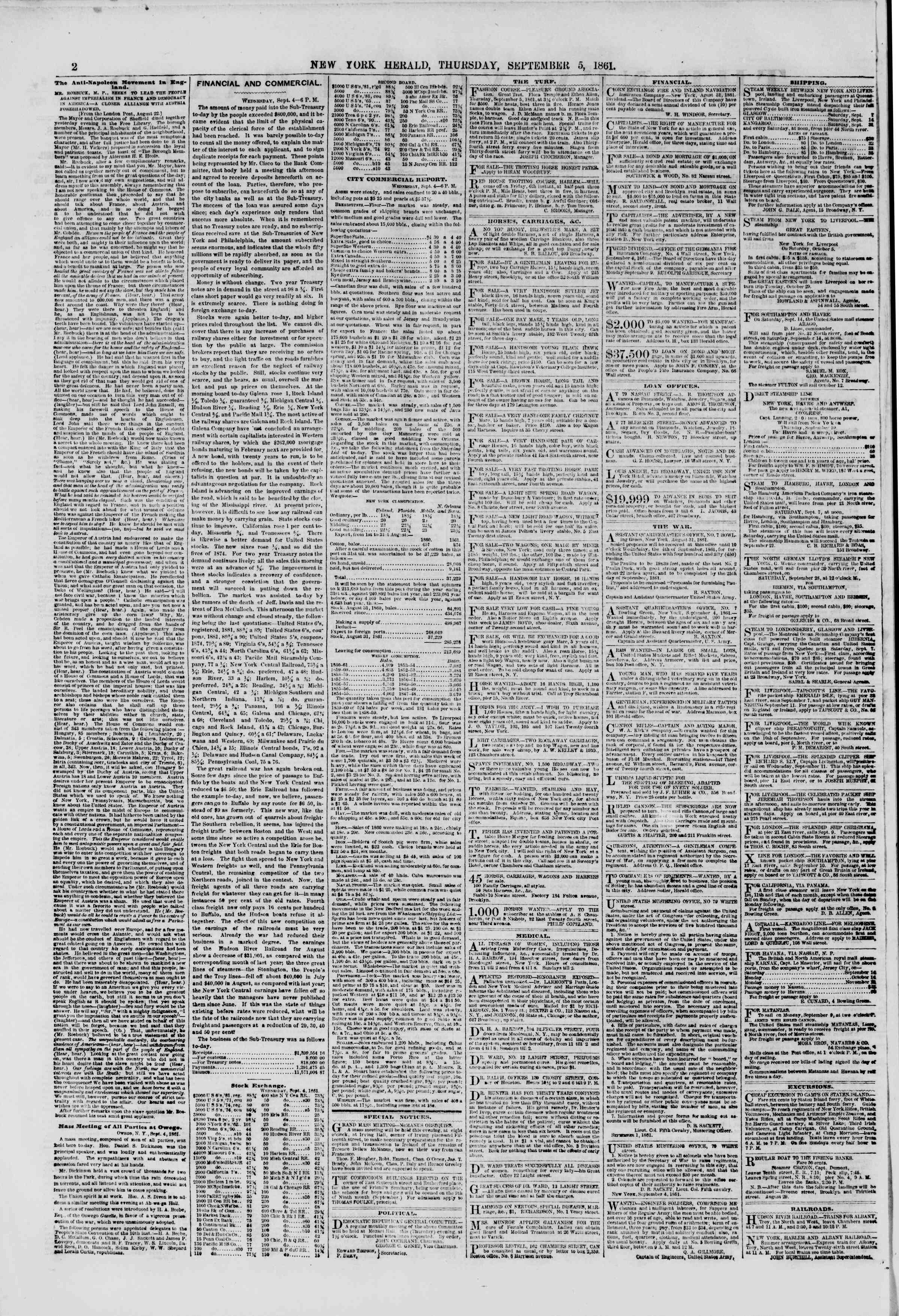 Newspaper of The New York Herald dated September 5, 1861 Page 2