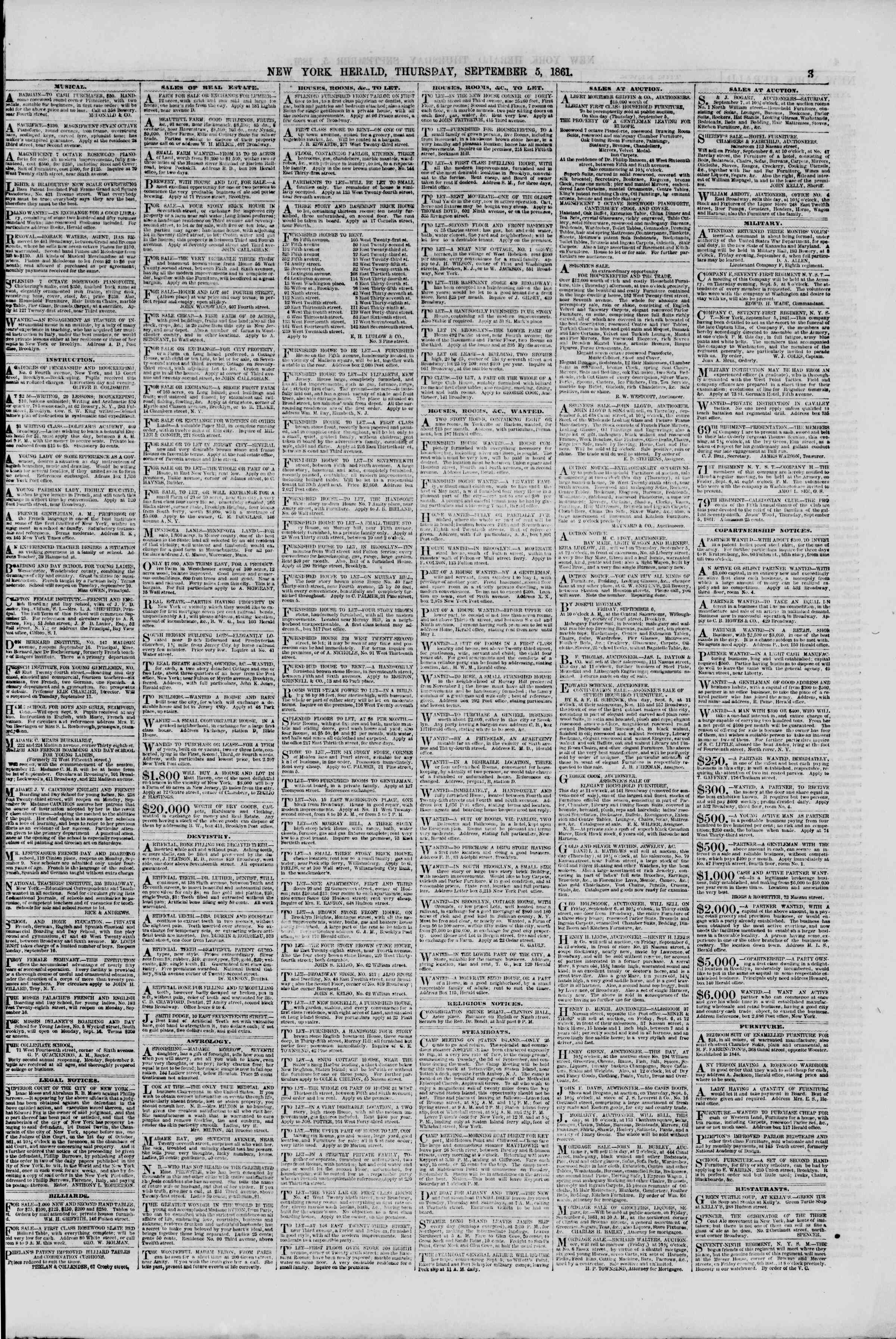 Newspaper of The New York Herald dated September 5, 1861 Page 3