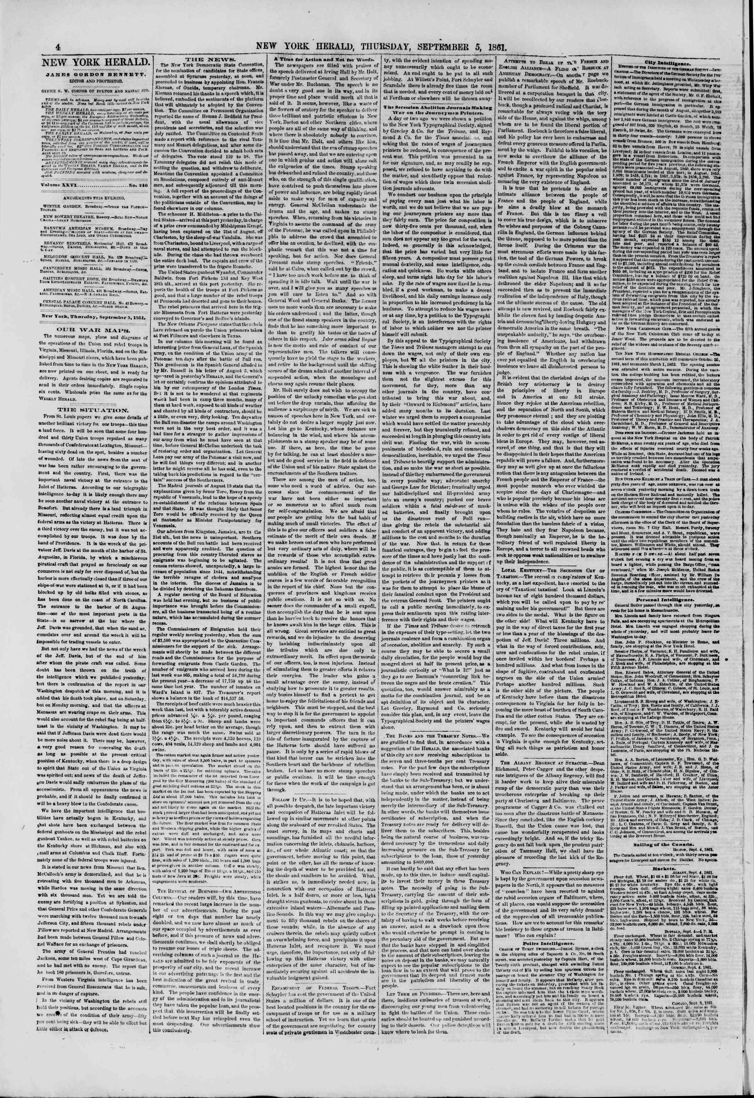 Newspaper of The New York Herald dated September 5, 1861 Page 4