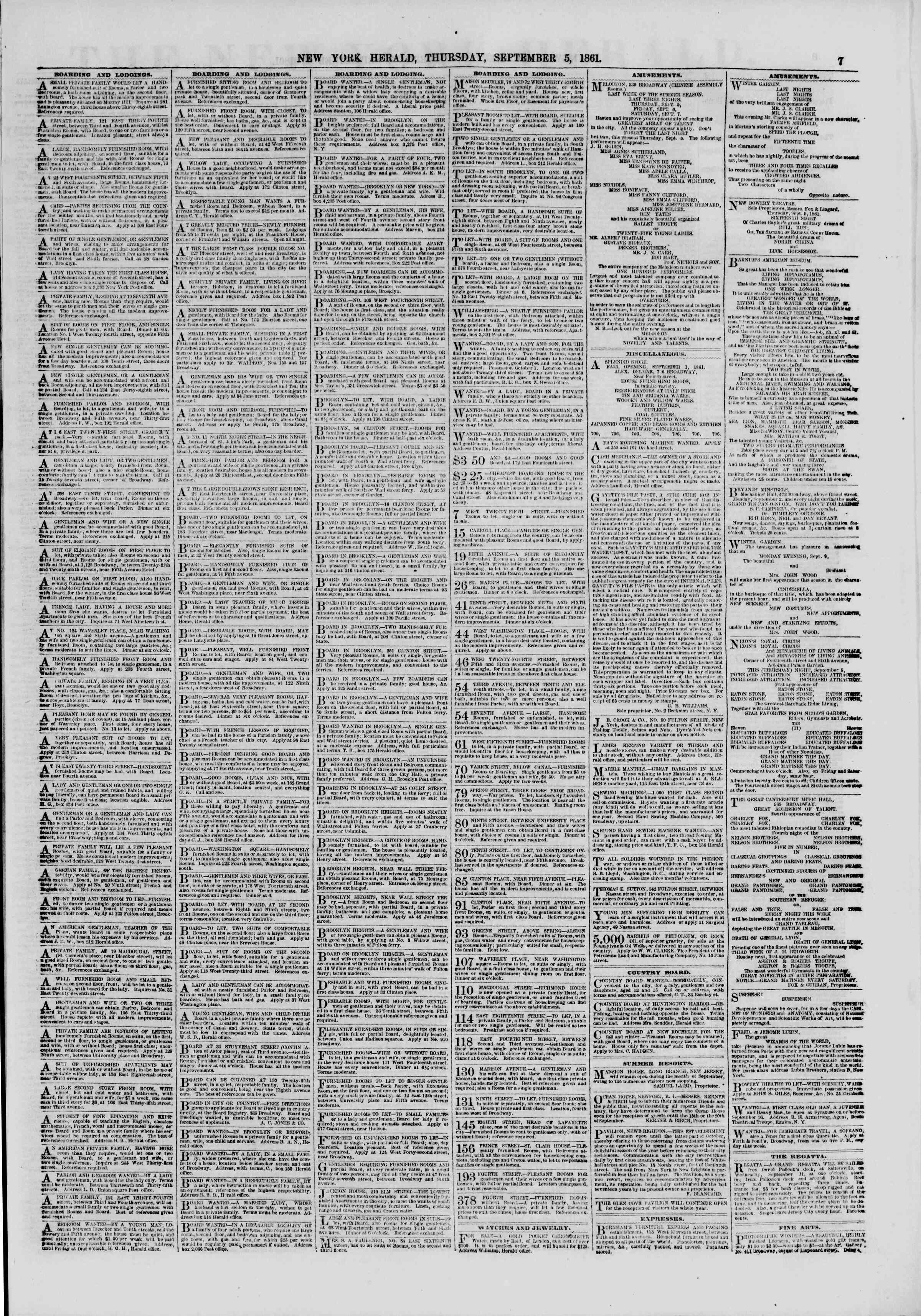 Newspaper of The New York Herald dated September 5, 1861 Page 7