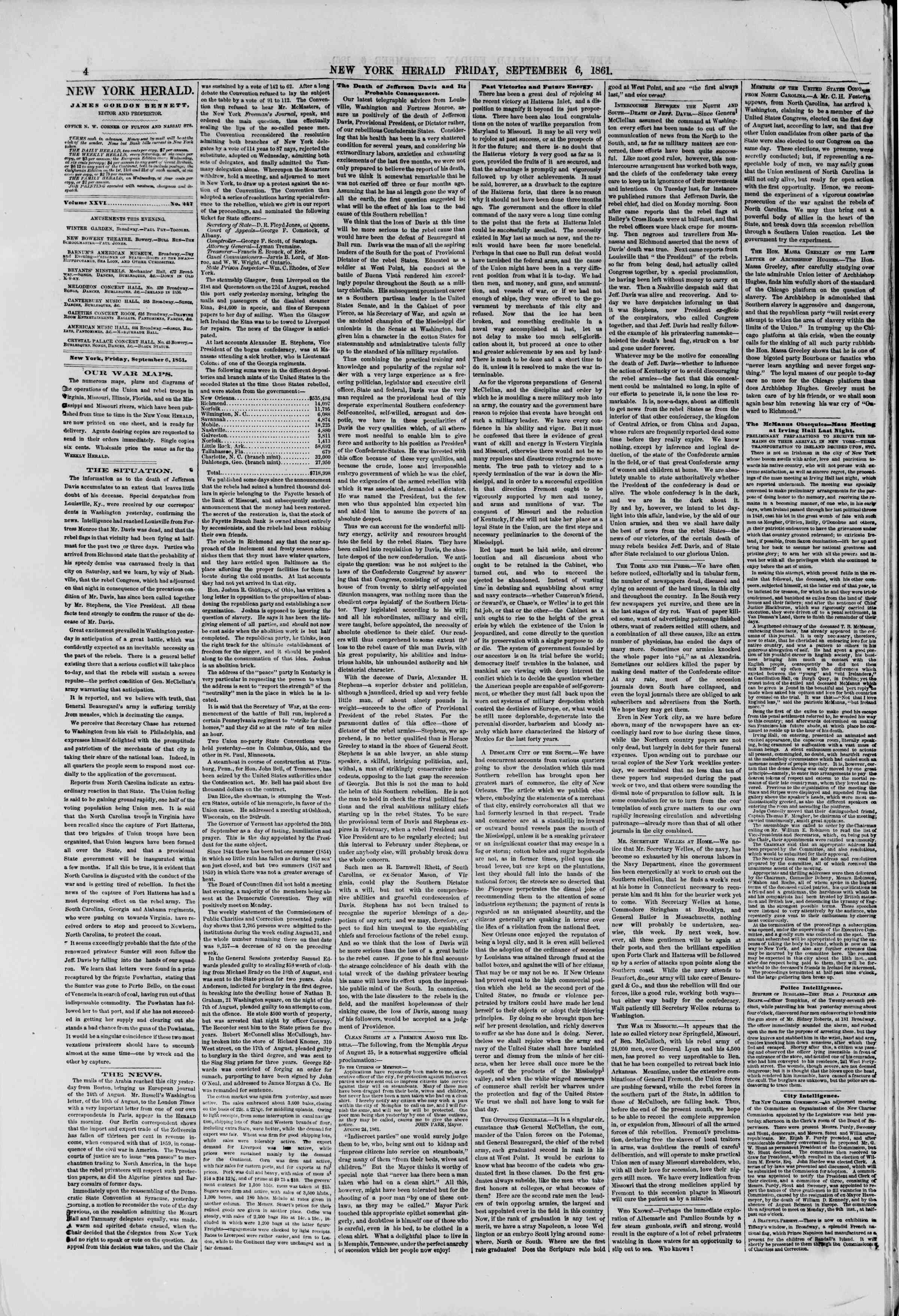 Newspaper of The New York Herald dated September 6, 1861 Page 4