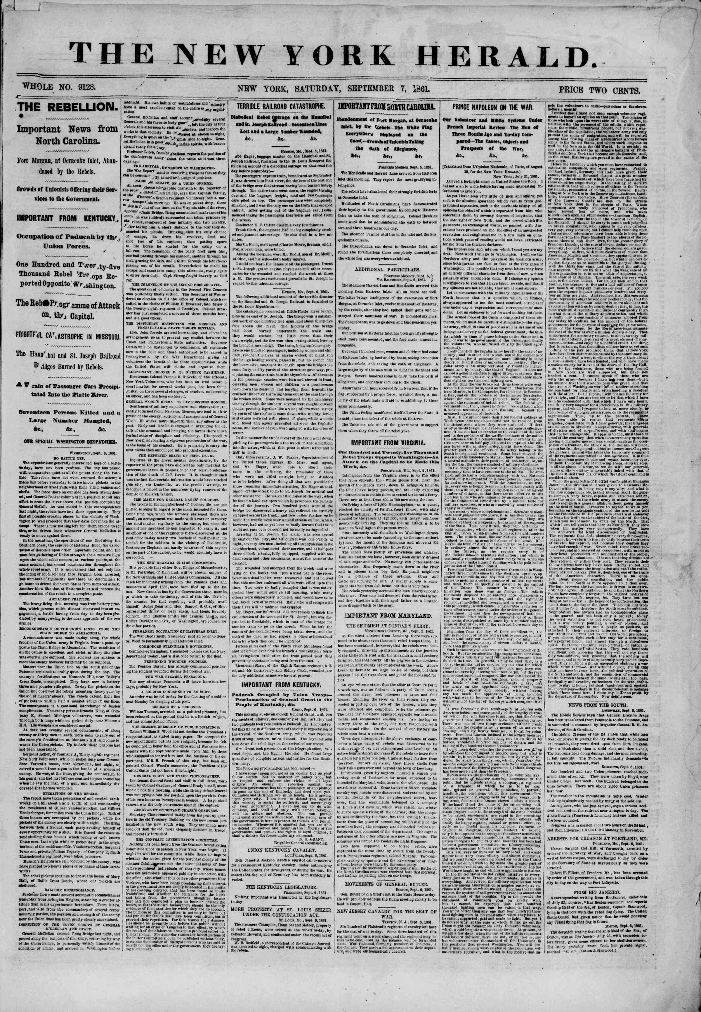 Newspaper of The New York Herald dated September 7, 1861 Page 1