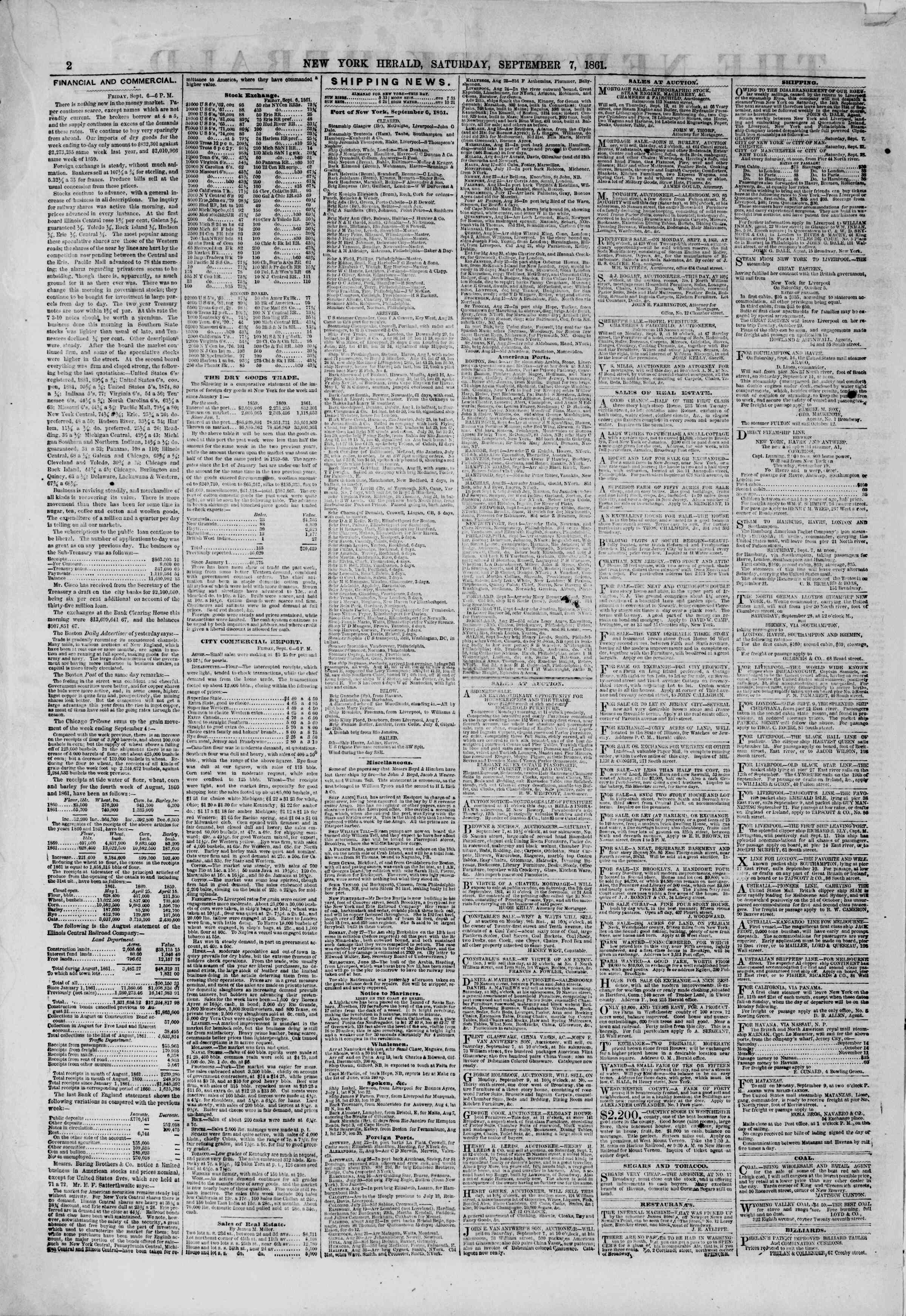 Newspaper of The New York Herald dated September 7, 1861 Page 2