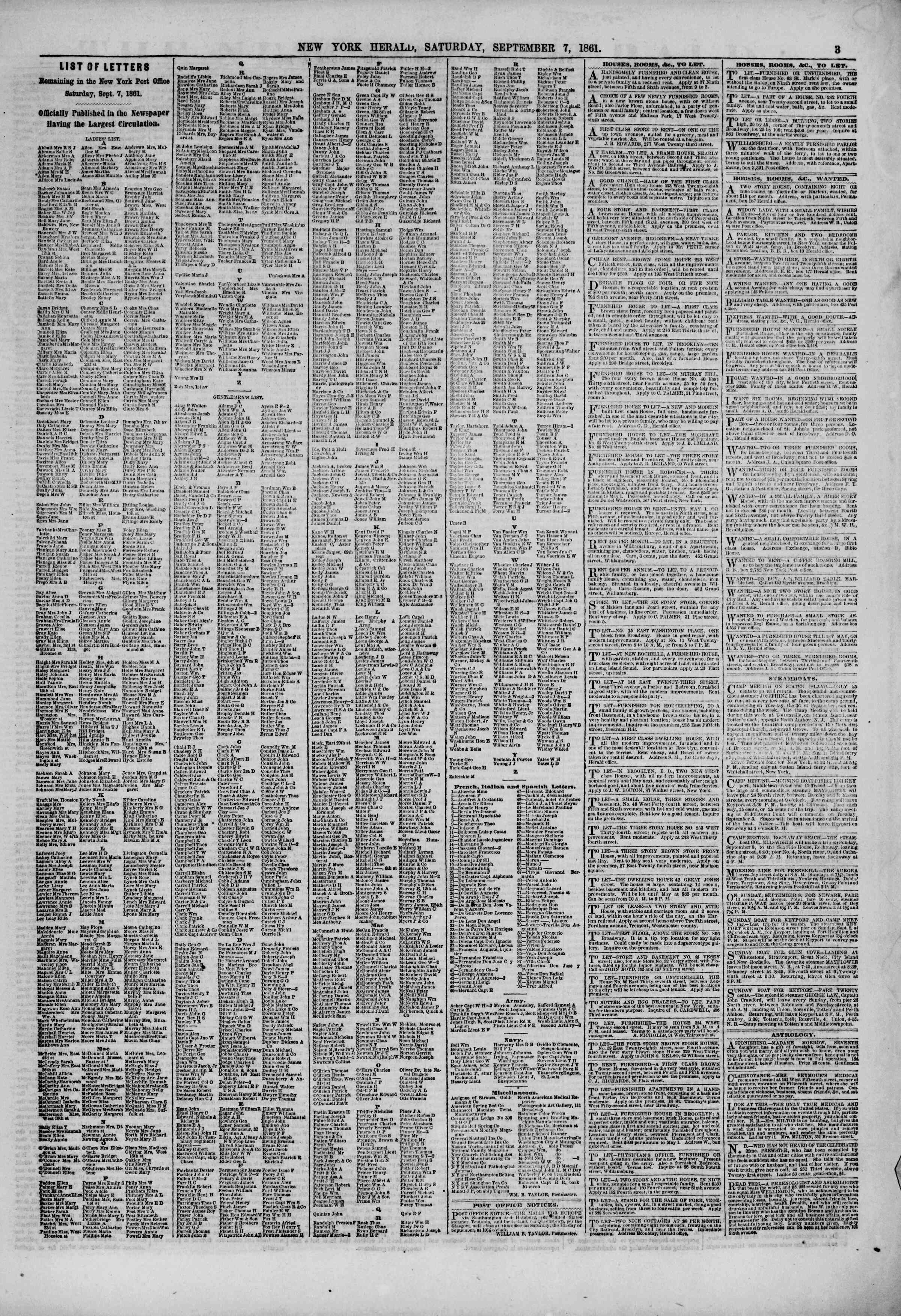 Newspaper of The New York Herald dated September 7, 1861 Page 3