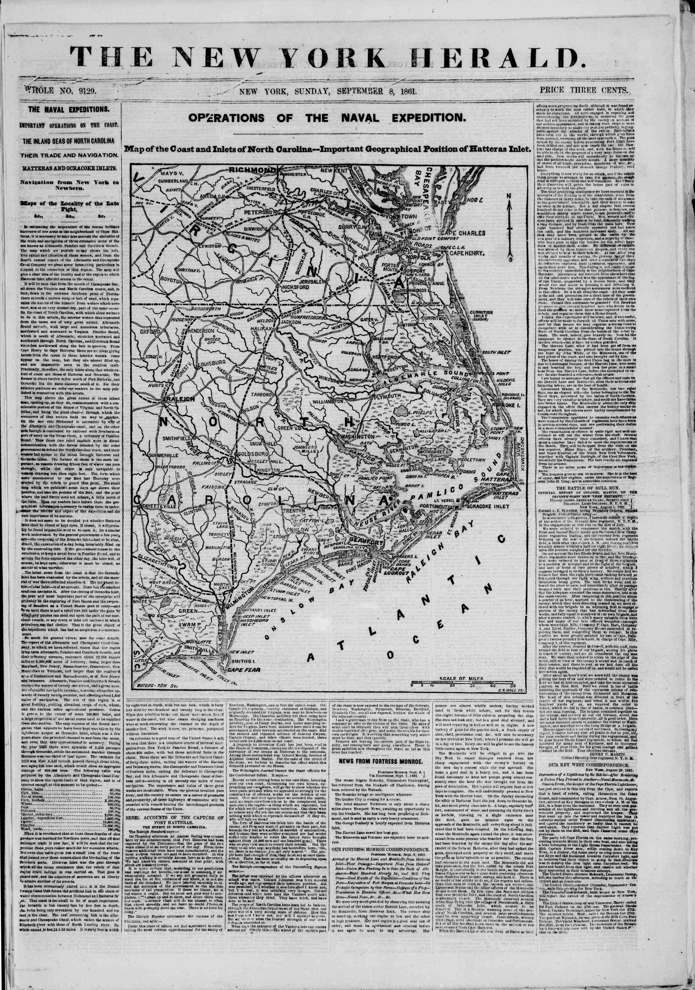Newspaper of The New York Herald dated 8 Eylül 1861 Page 1