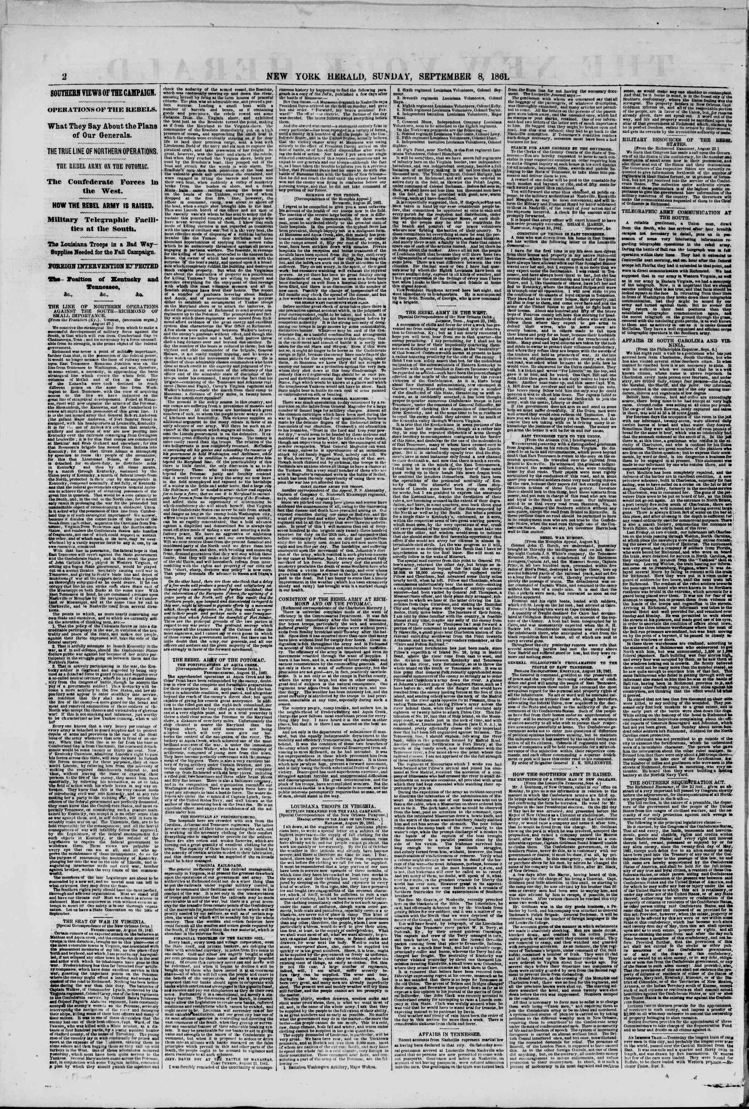 Newspaper of The New York Herald dated September 8, 1861 Page 2