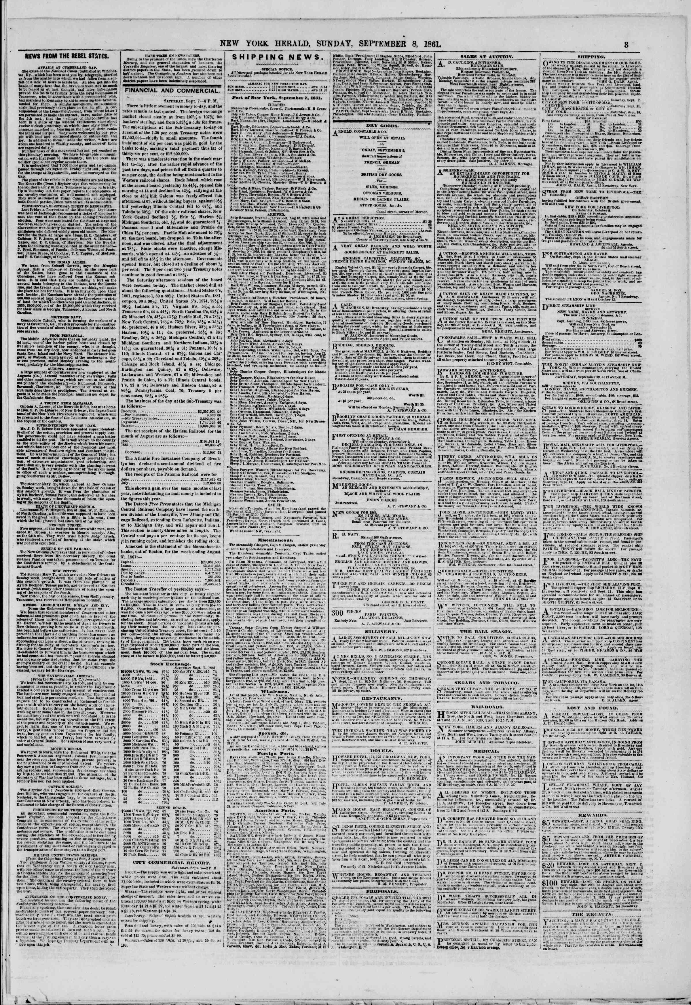 Newspaper of The New York Herald dated September 8, 1861 Page 3