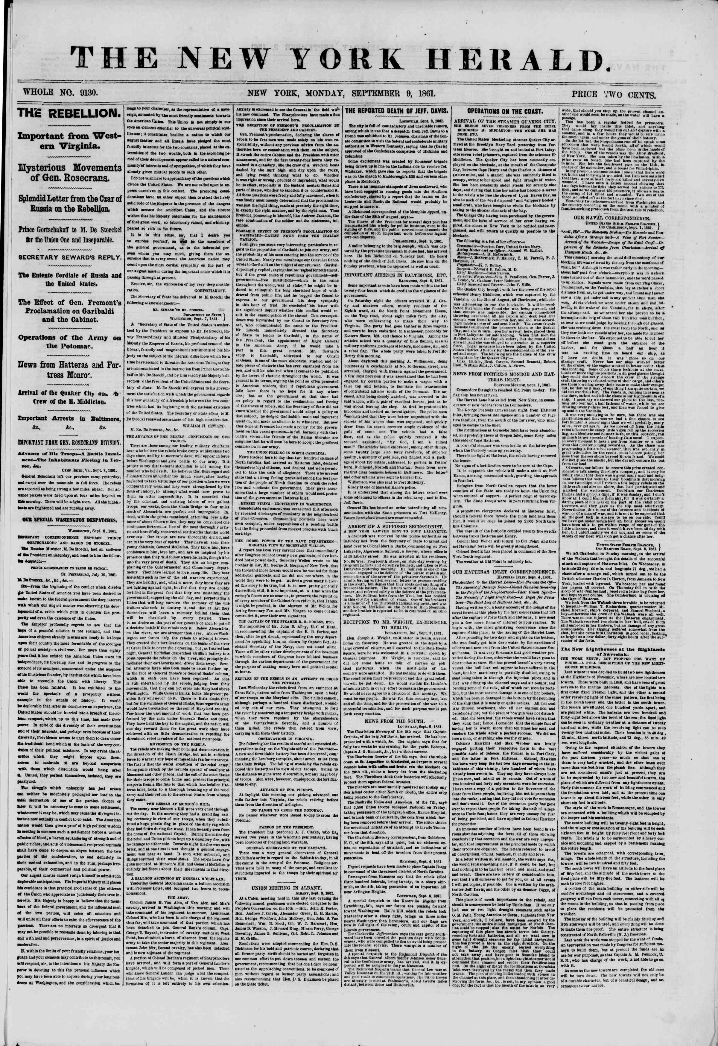 Newspaper of The New York Herald dated September 9, 1861 Page 1