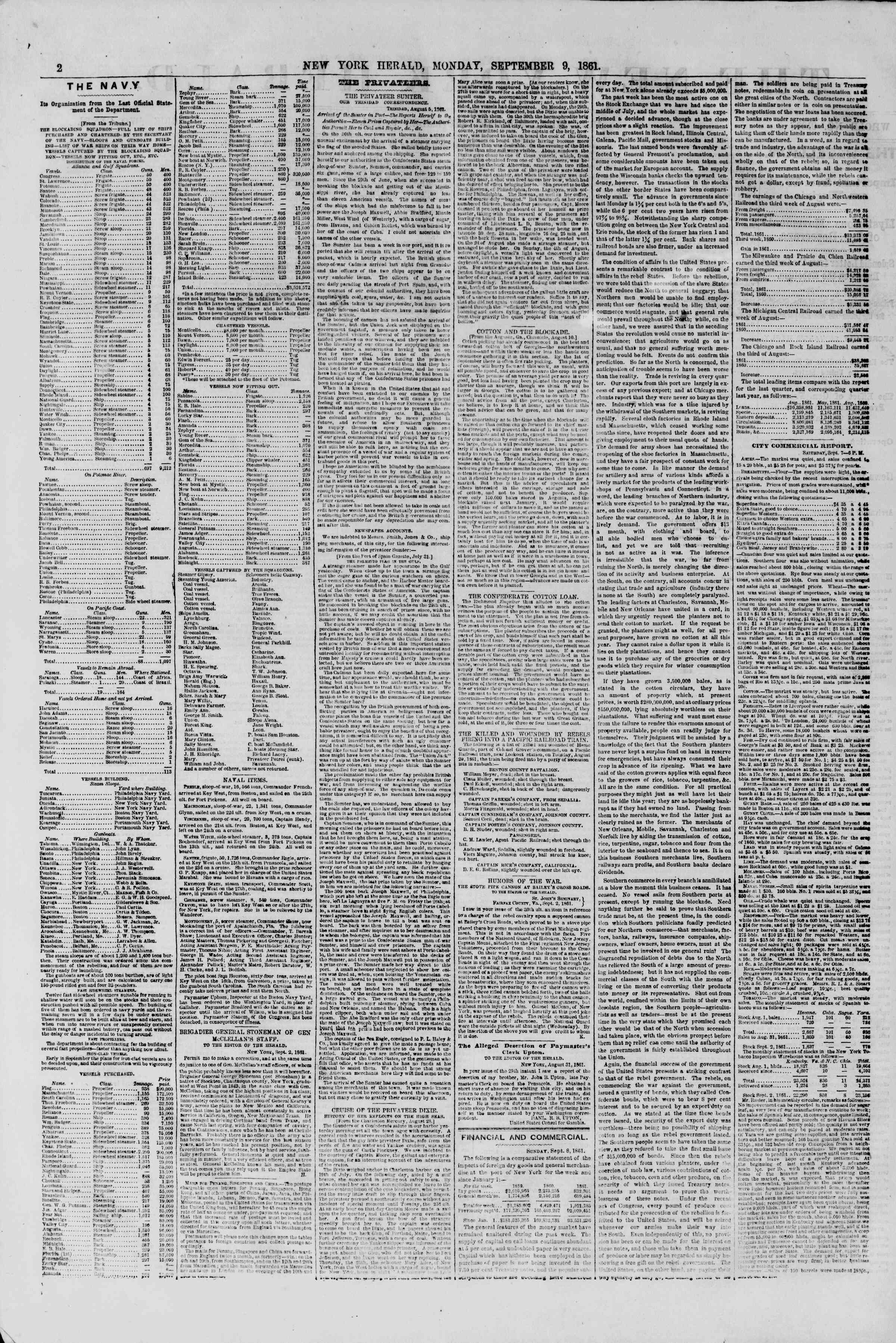 Newspaper of The New York Herald dated September 9, 1861 Page 2