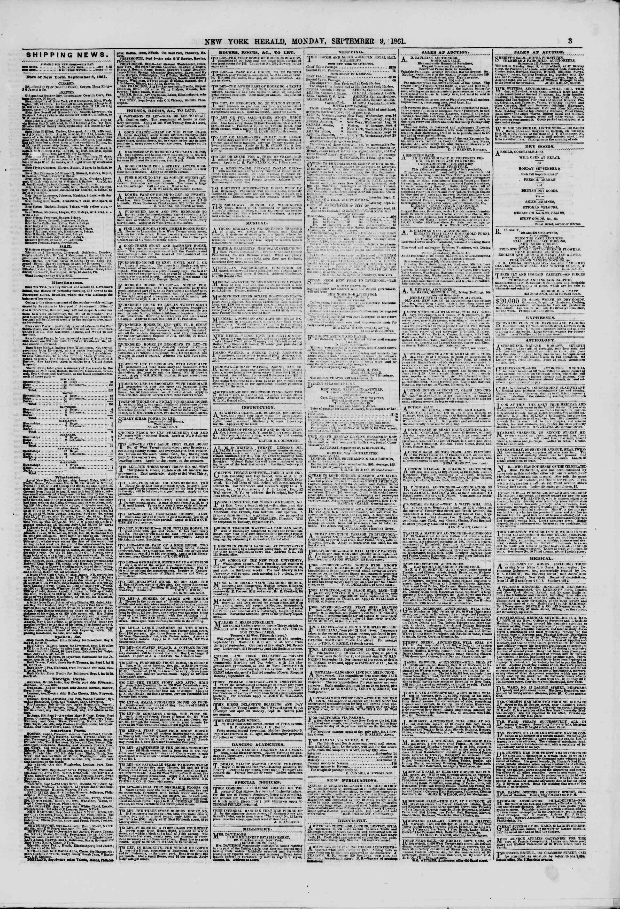 Newspaper of The New York Herald dated September 9, 1861 Page 3