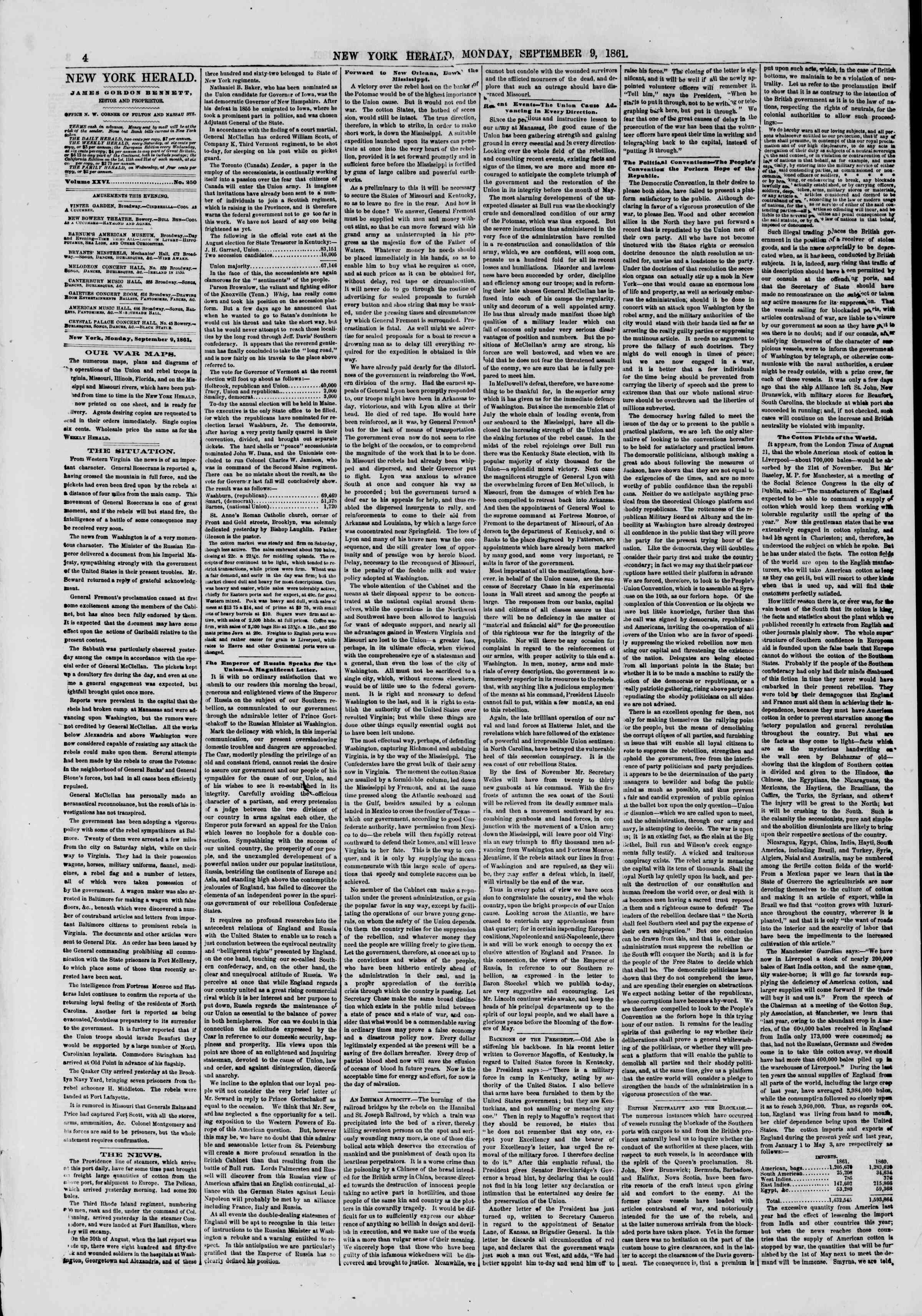 Newspaper of The New York Herald dated September 9, 1861 Page 4