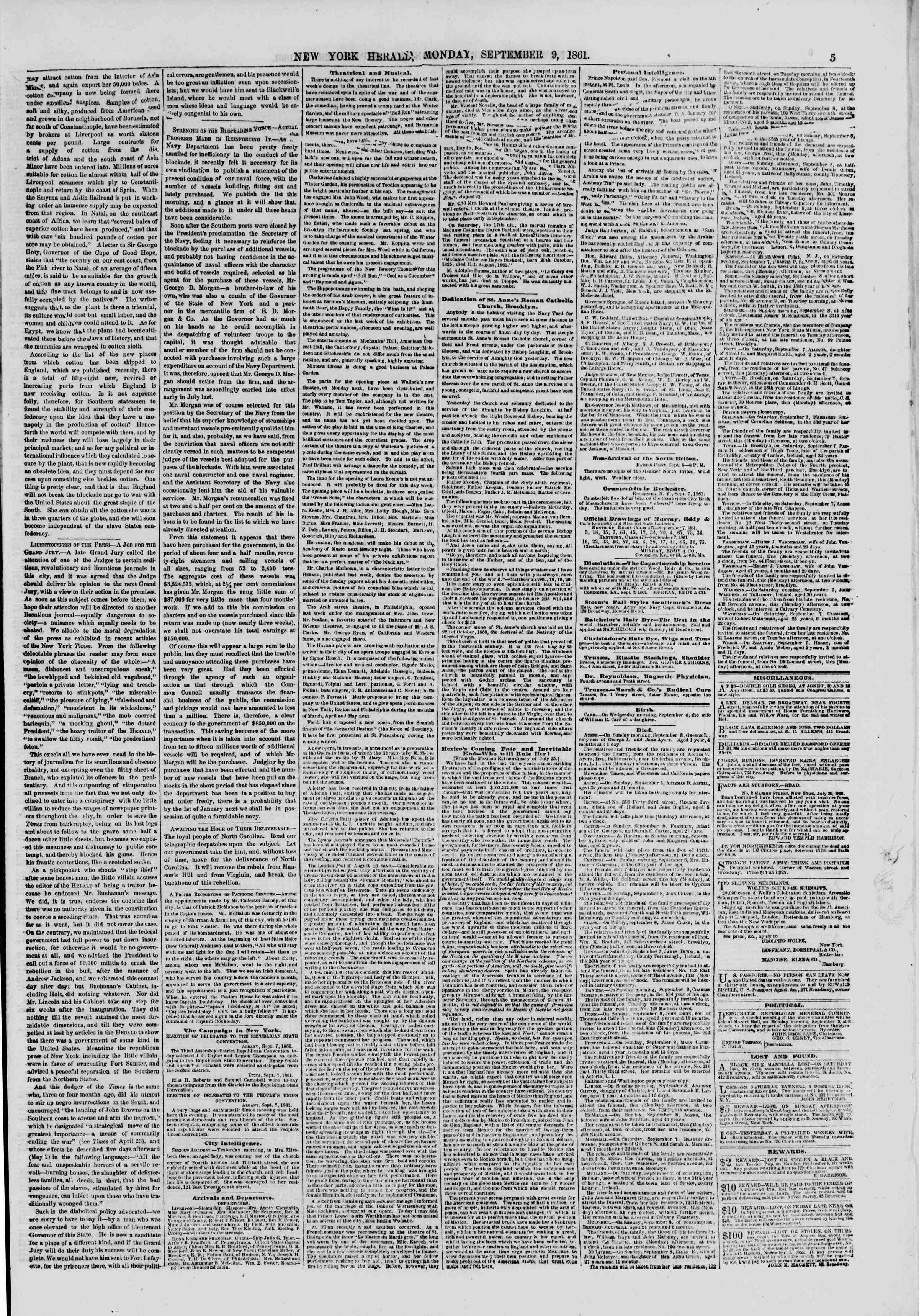 Newspaper of The New York Herald dated September 9, 1861 Page 5