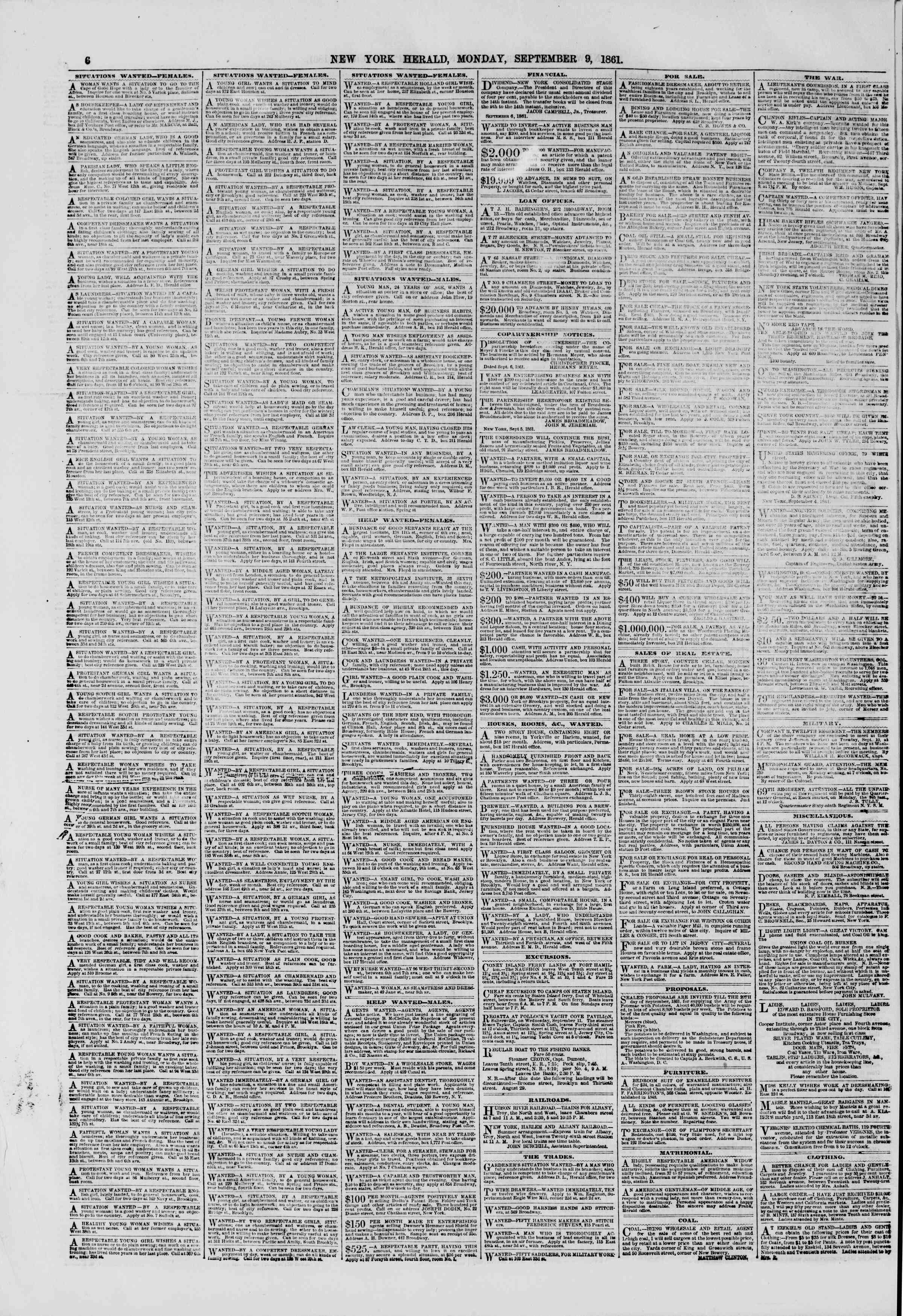Newspaper of The New York Herald dated September 9, 1861 Page 6