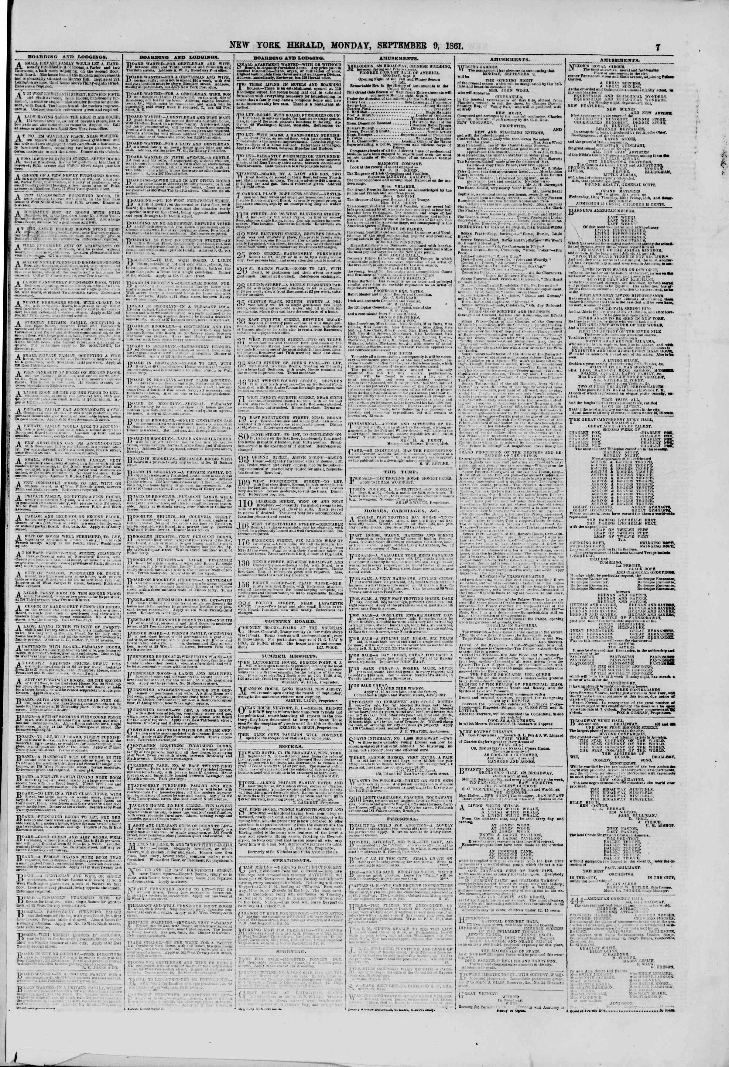 Newspaper of The New York Herald dated September 9, 1861 Page 7