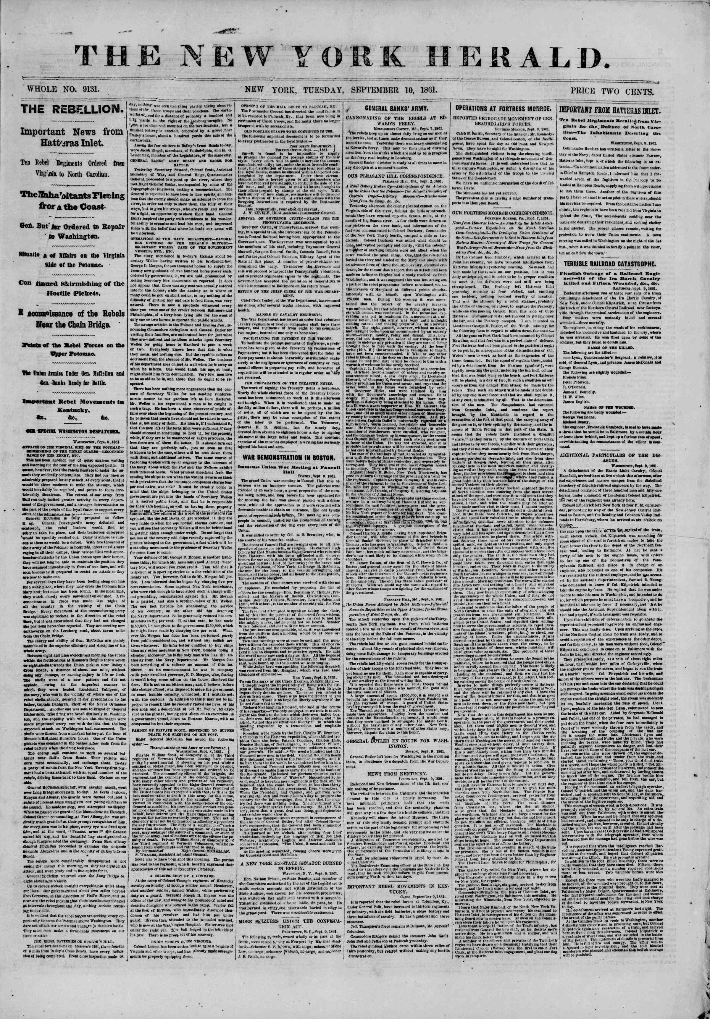 Newspaper of The New York Herald dated September 10, 1861 Page 1