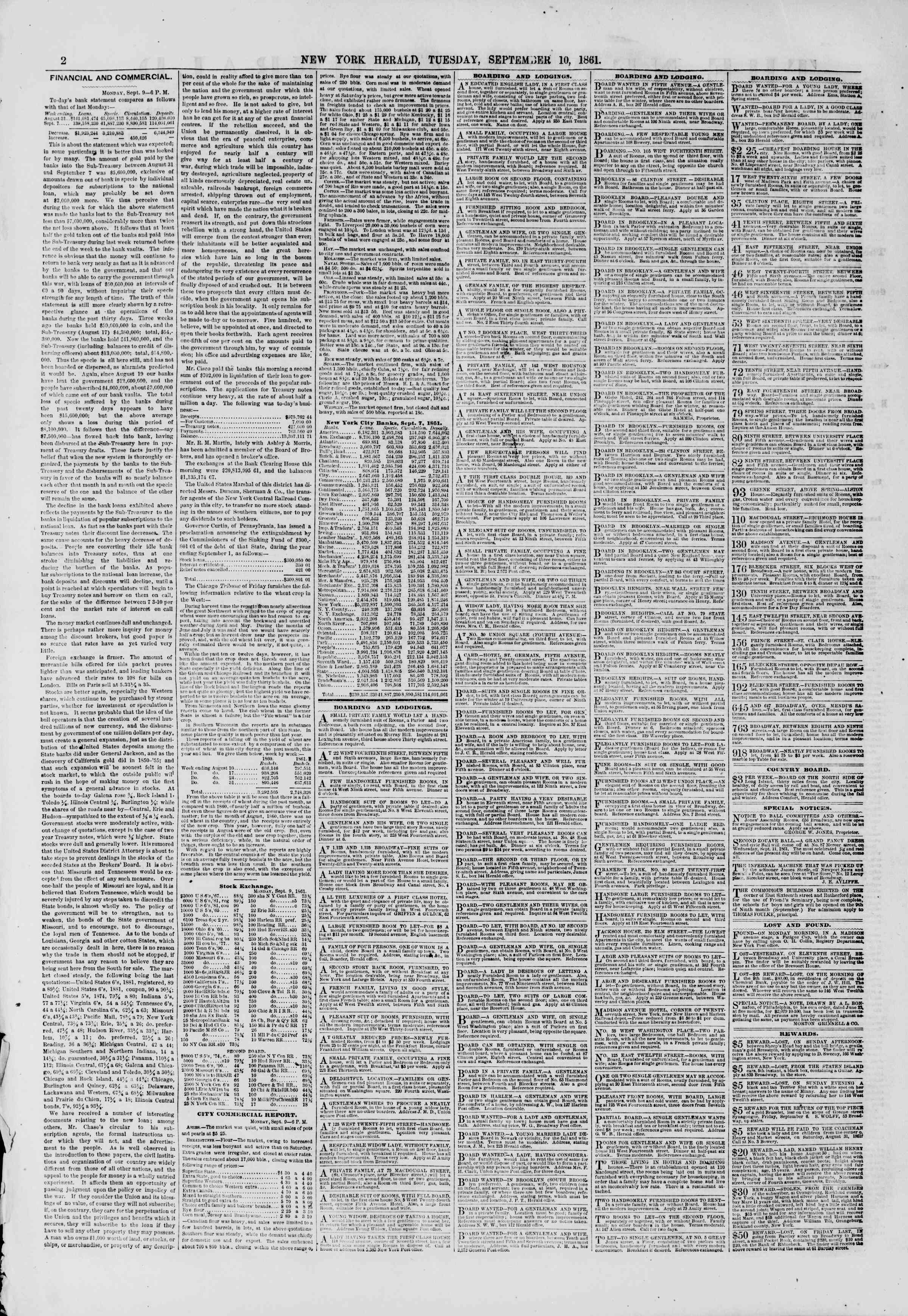 Newspaper of The New York Herald dated September 10, 1861 Page 2