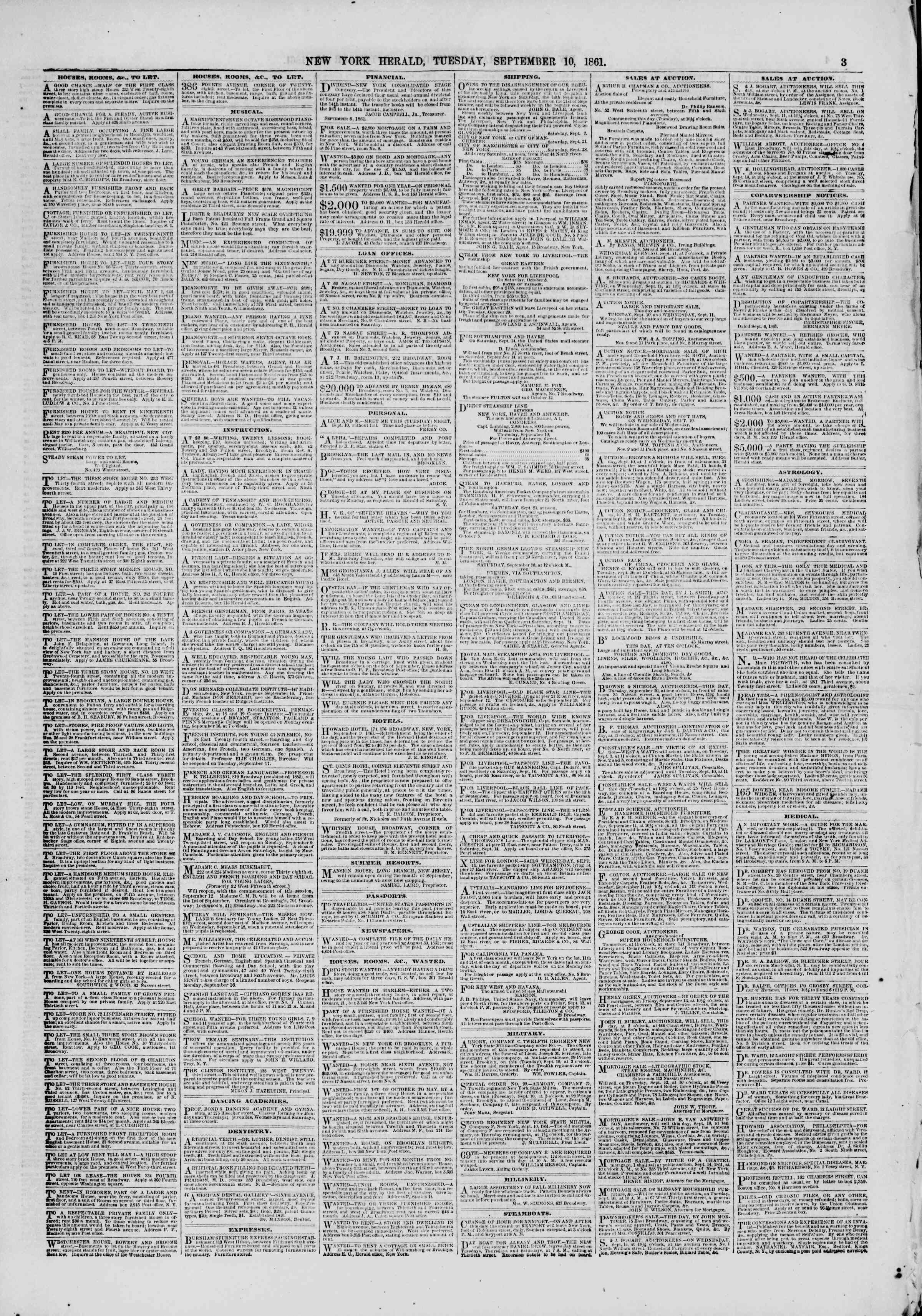 Newspaper of The New York Herald dated September 10, 1861 Page 3