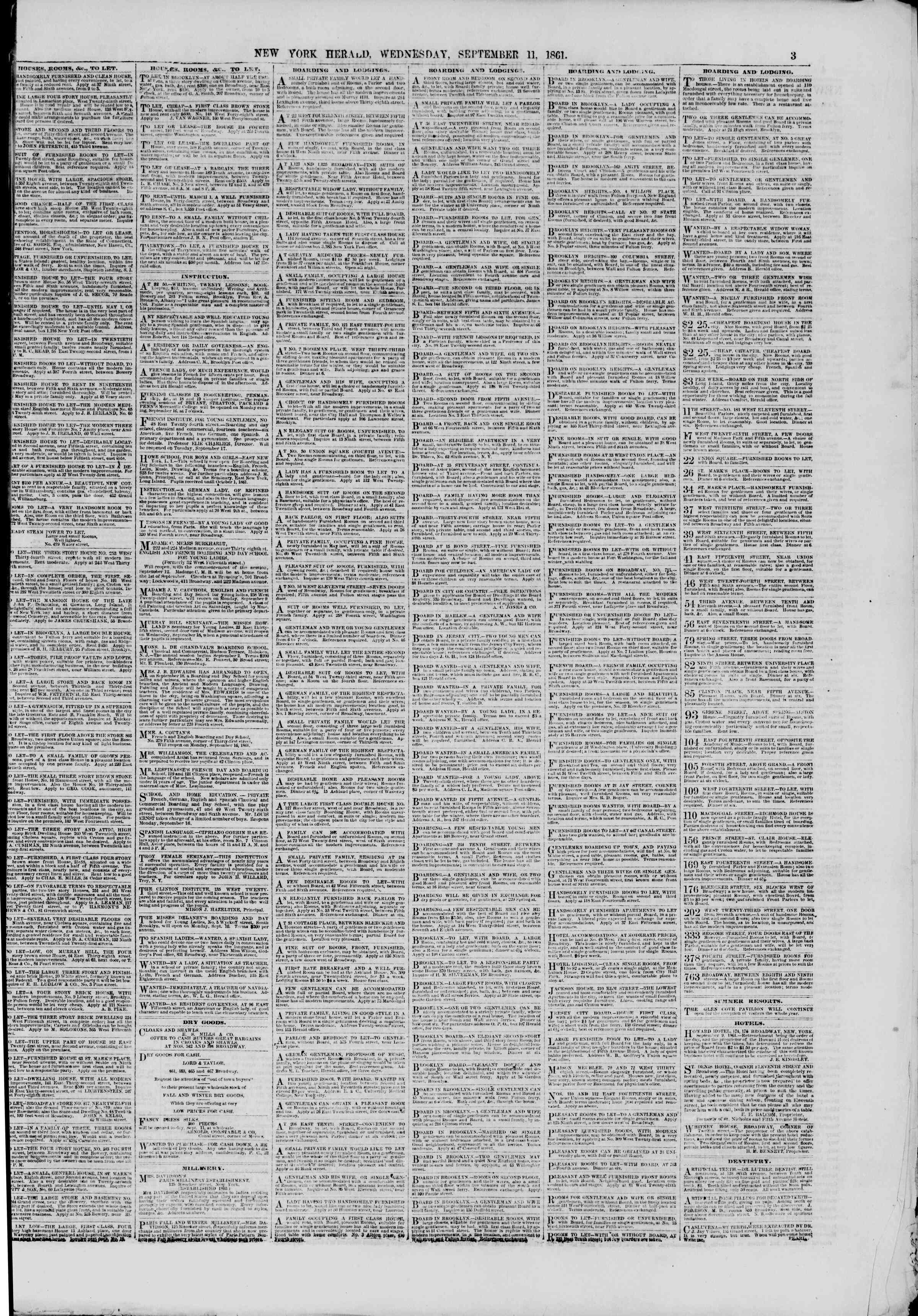 Newspaper of The New York Herald dated September 11, 1861 Page 3