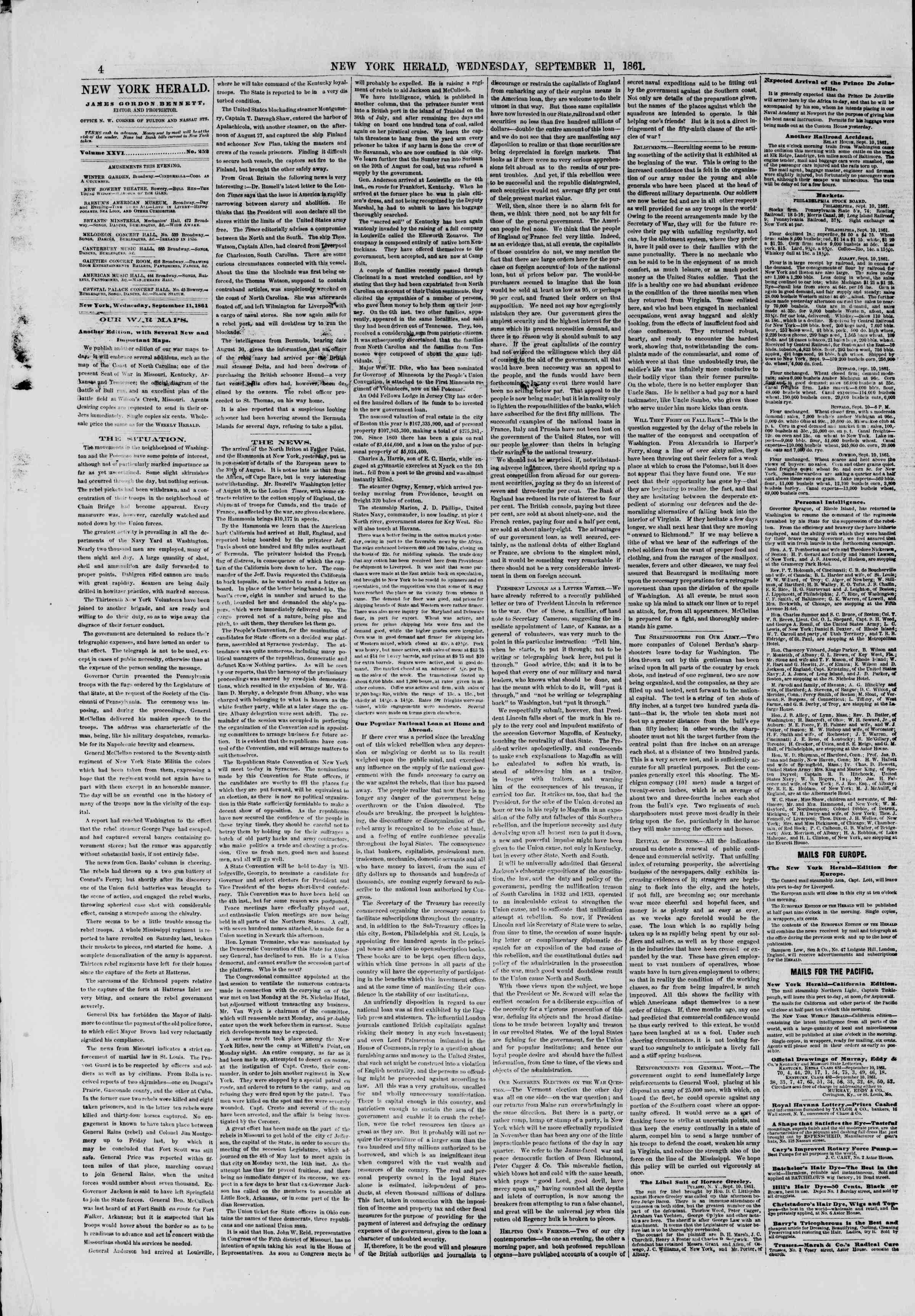 Newspaper of The New York Herald dated September 11, 1861 Page 4