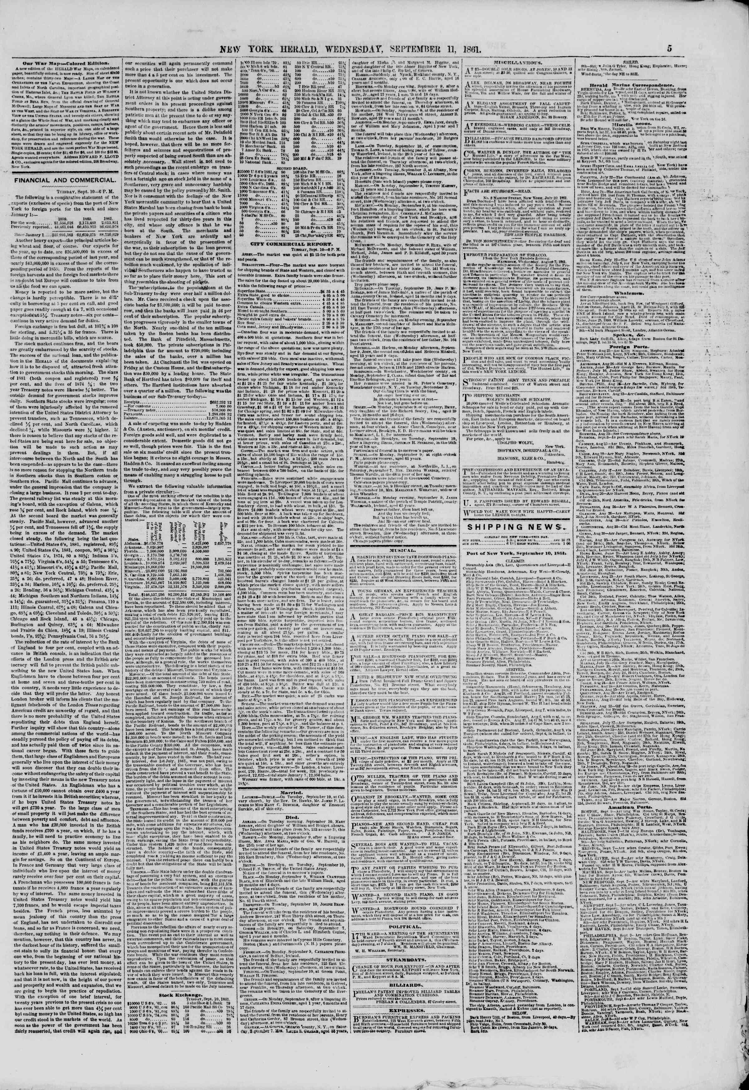 Newspaper of The New York Herald dated September 11, 1861 Page 5