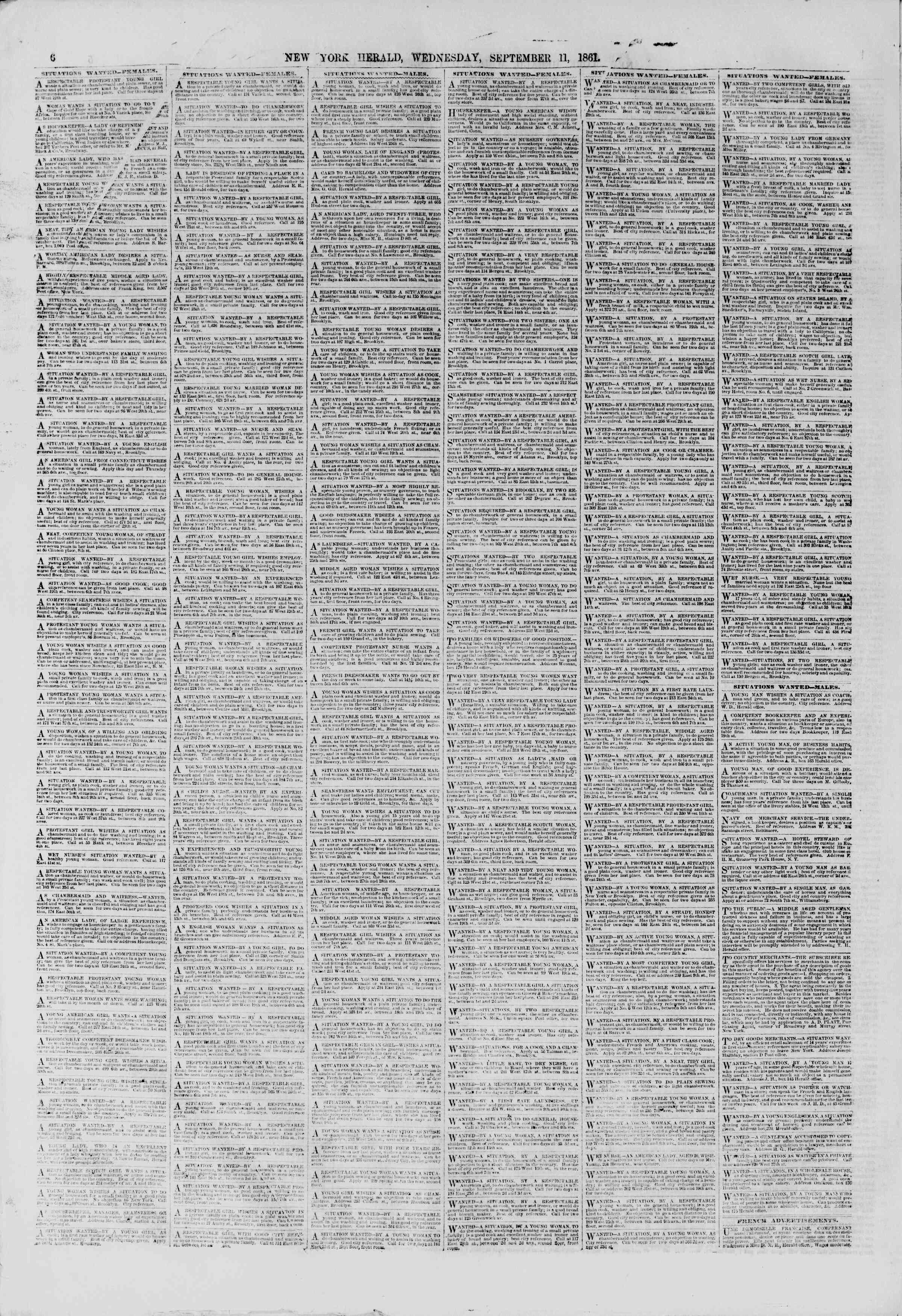 Newspaper of The New York Herald dated September 11, 1861 Page 6