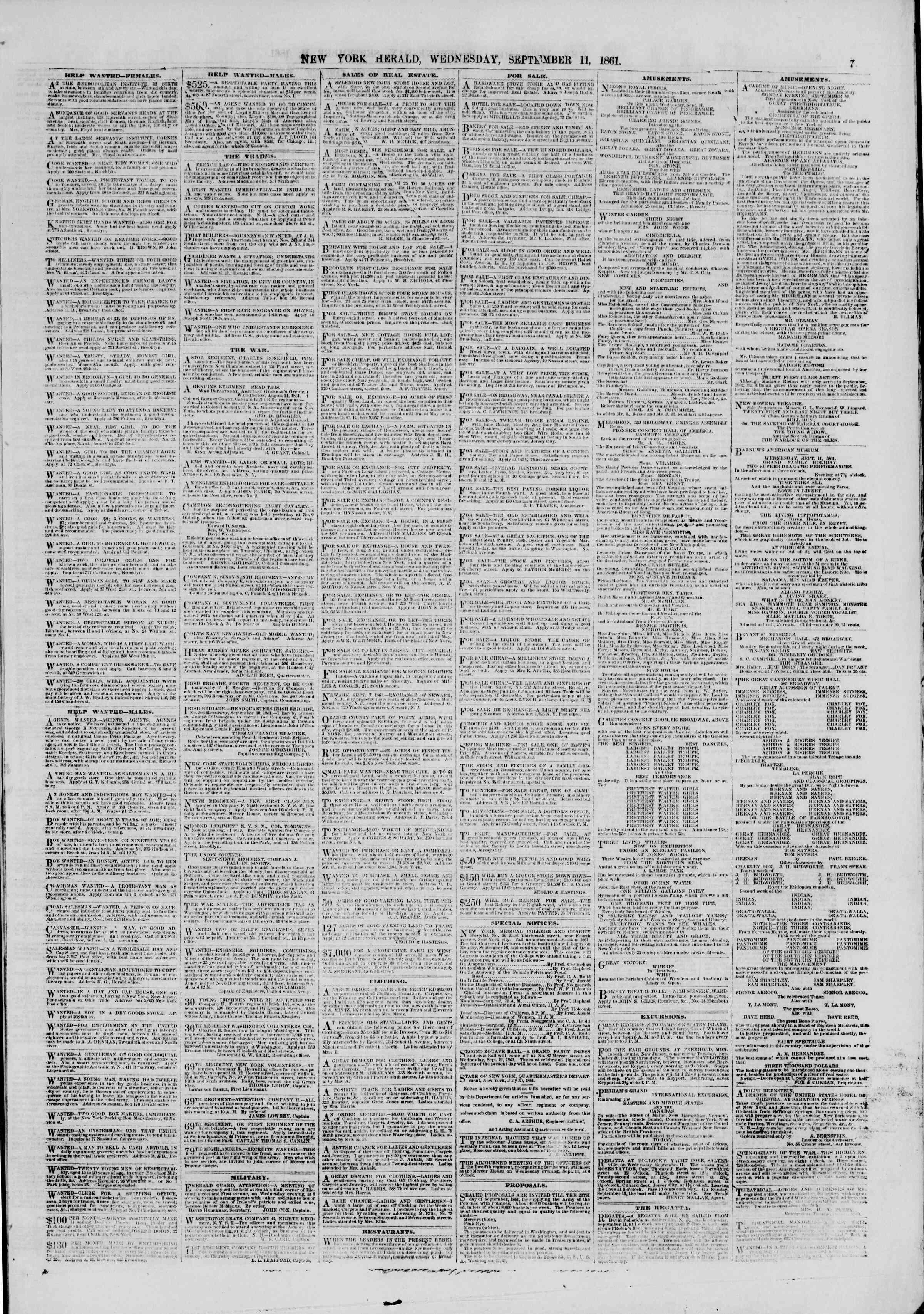 11 Eylül 1861 tarihli The New York Herald Gazetesi Sayfa 7