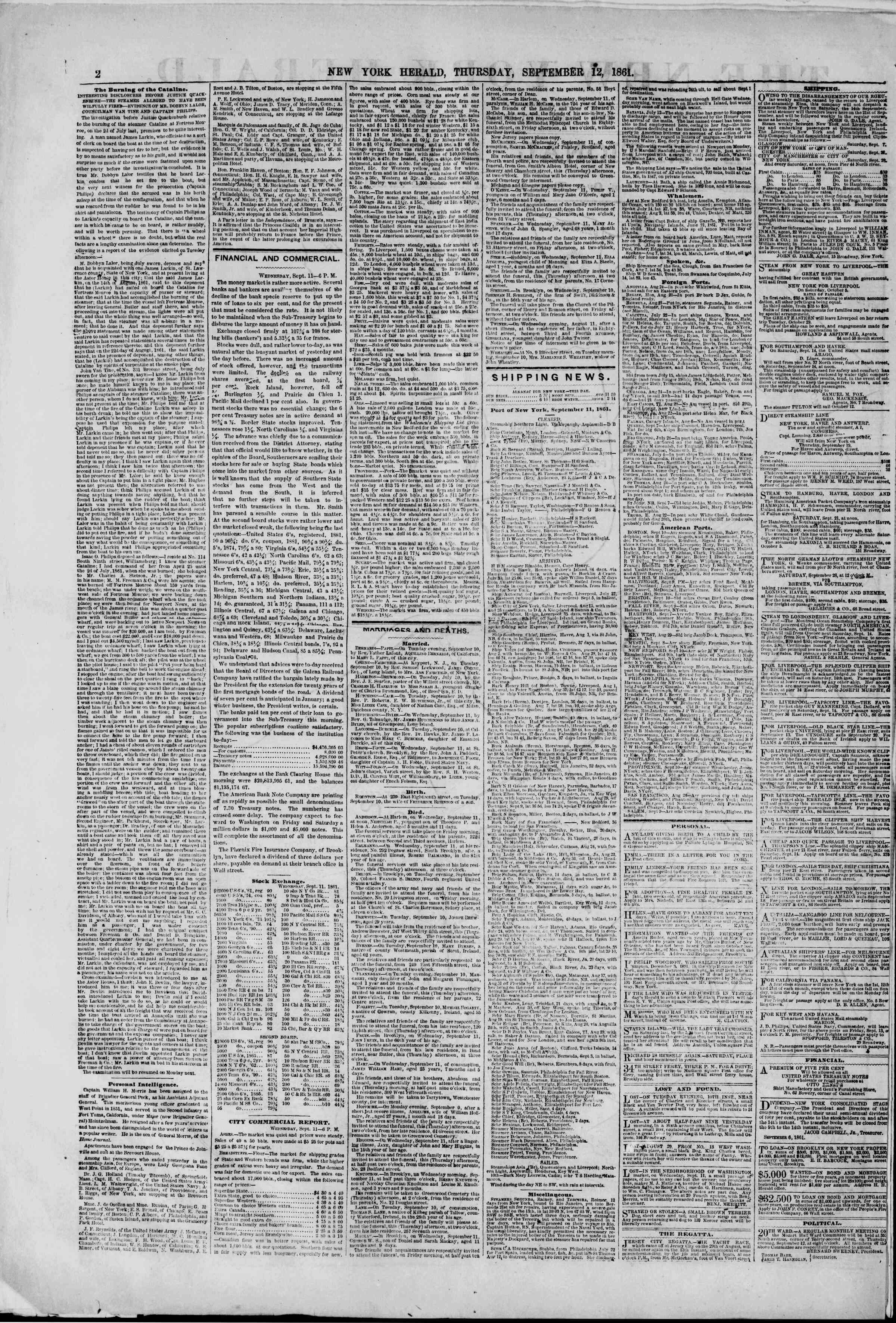 Newspaper of The New York Herald dated September 12, 1861 Page 2