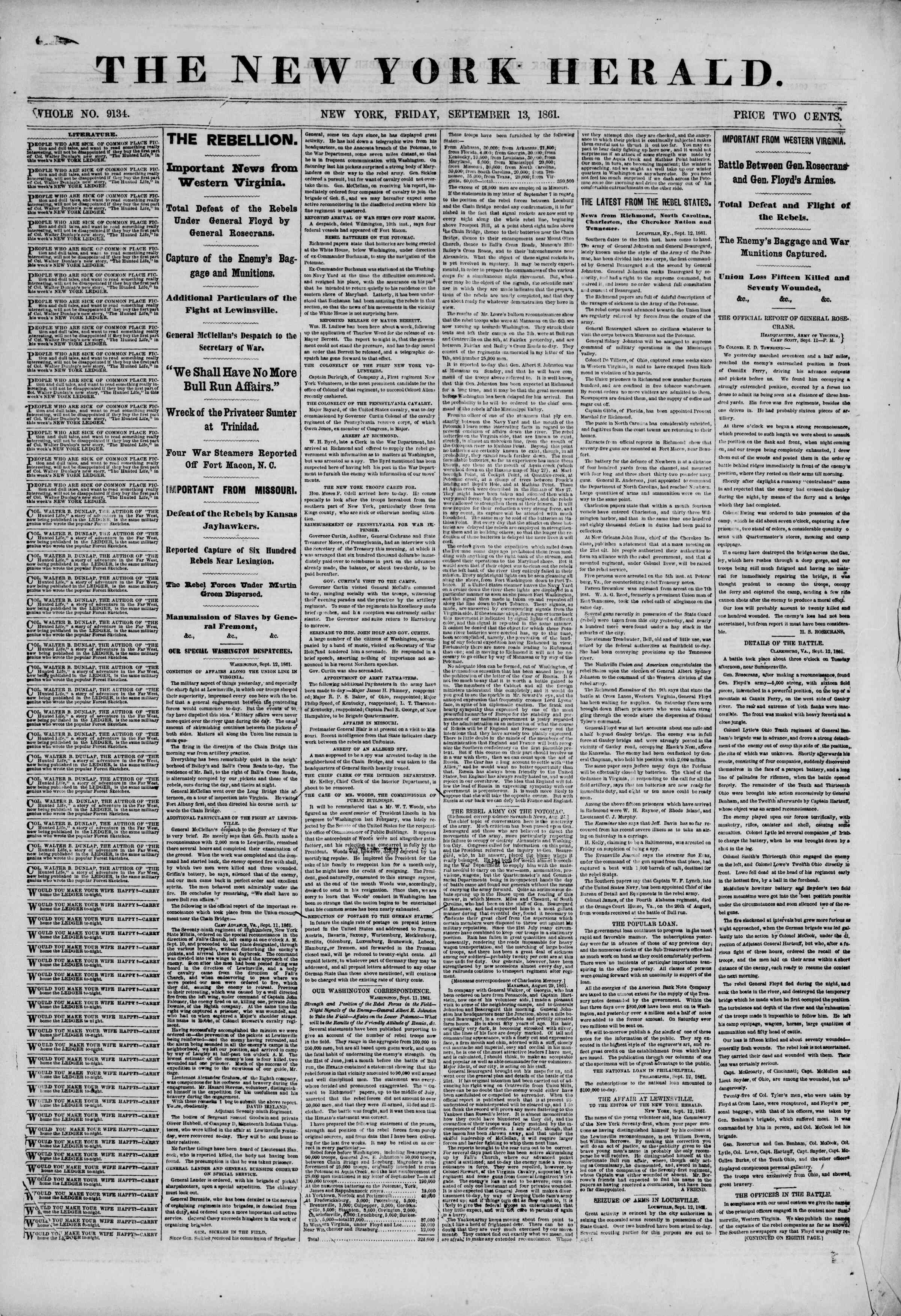 Newspaper of The New York Herald dated September 13, 1861 Page 1
