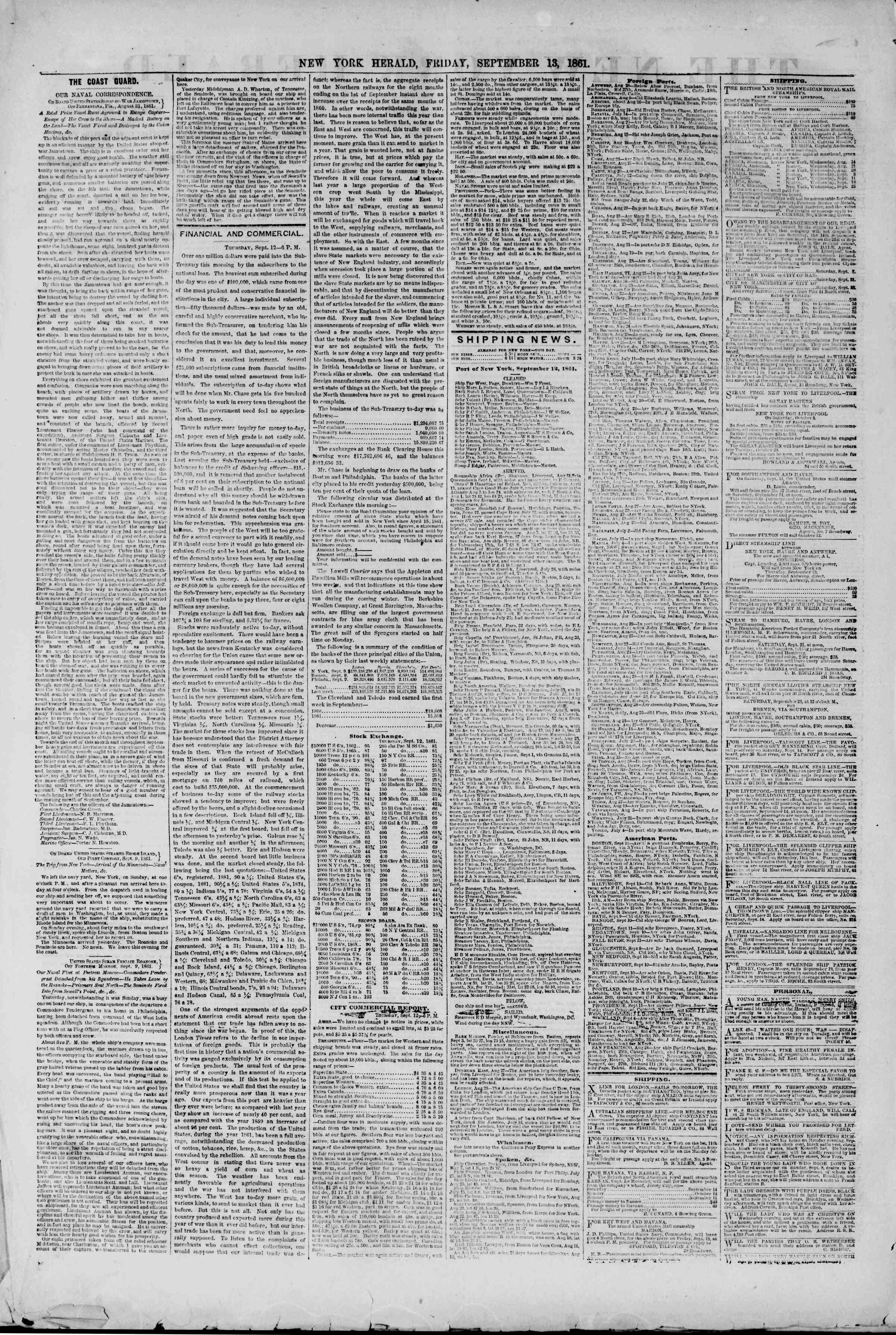 Newspaper of The New York Herald dated September 13, 1861 Page 2