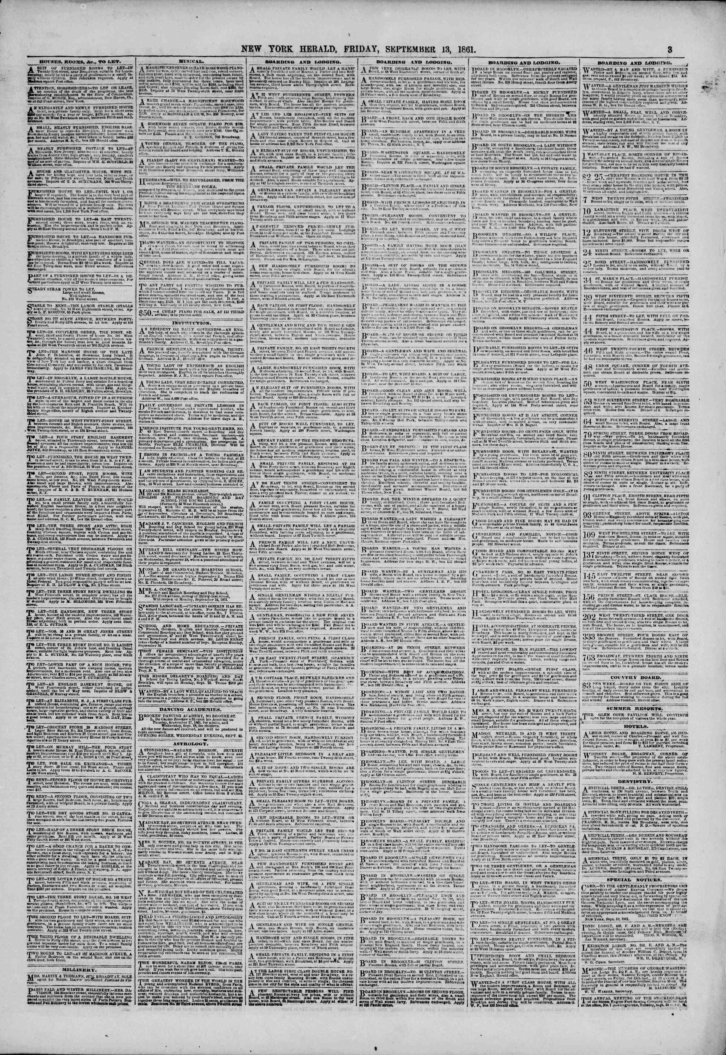 Newspaper of The New York Herald dated September 13, 1861 Page 3