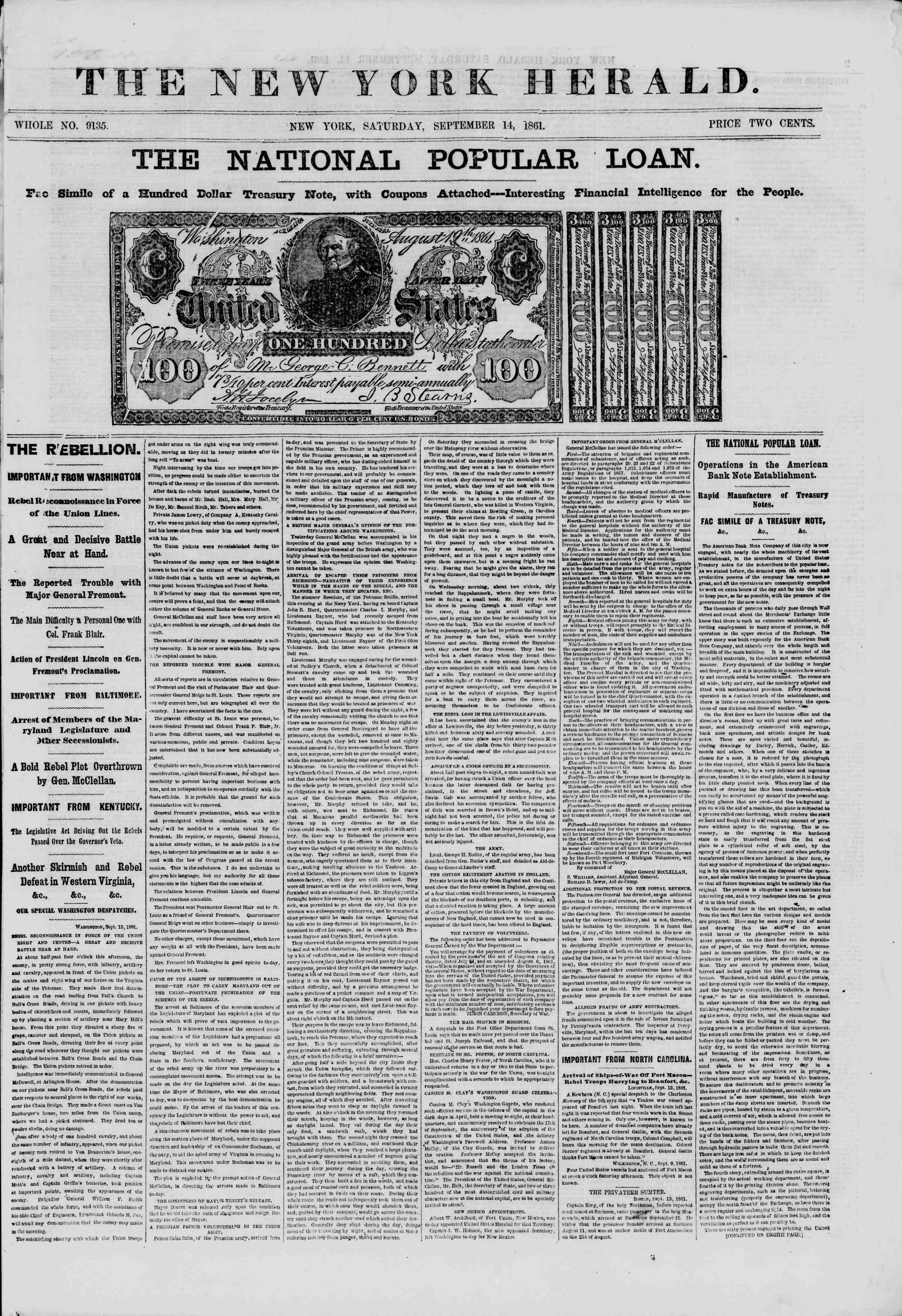Newspaper of The New York Herald dated September 14, 1861 Page 1