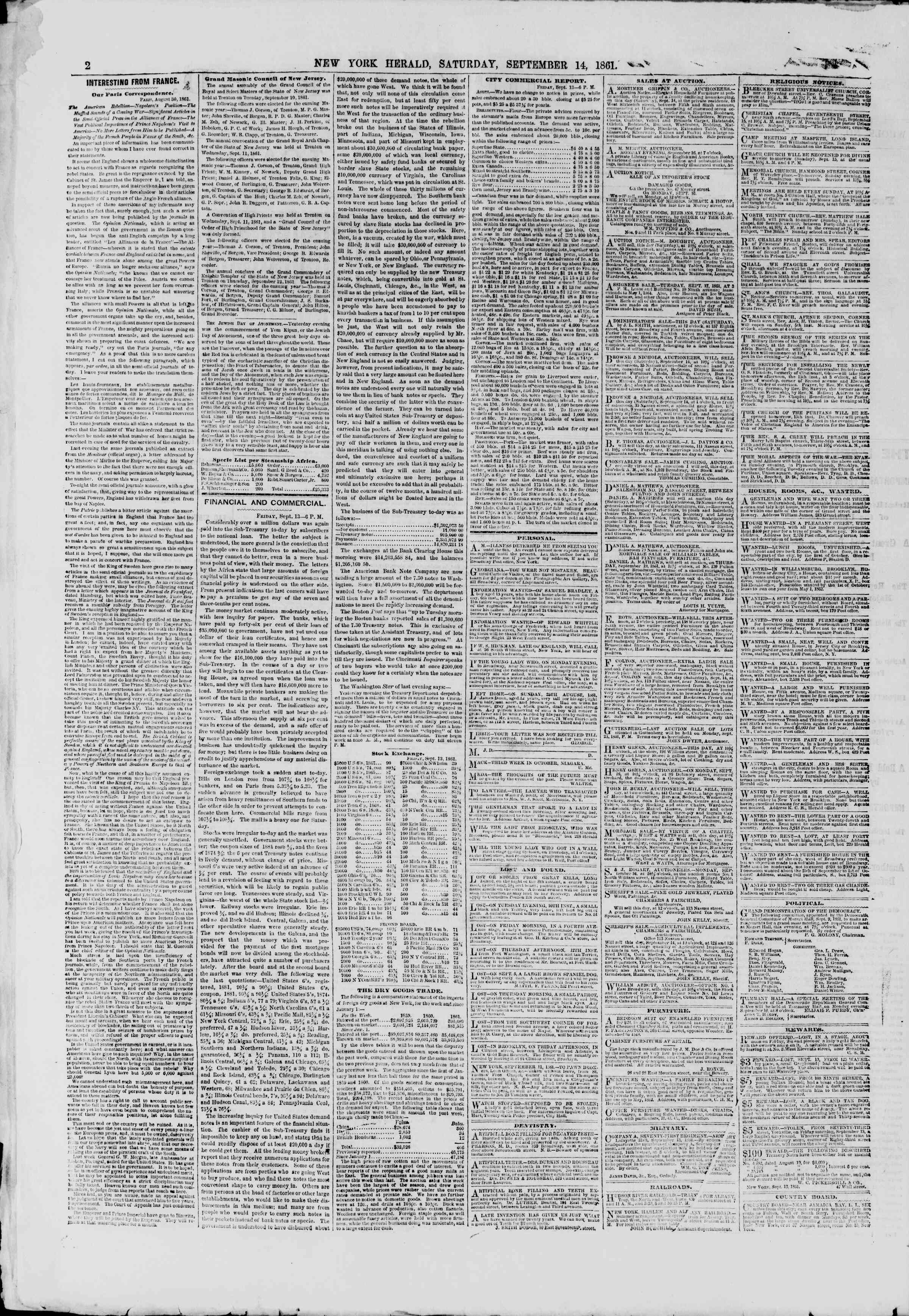 Newspaper of The New York Herald dated September 14, 1861 Page 2