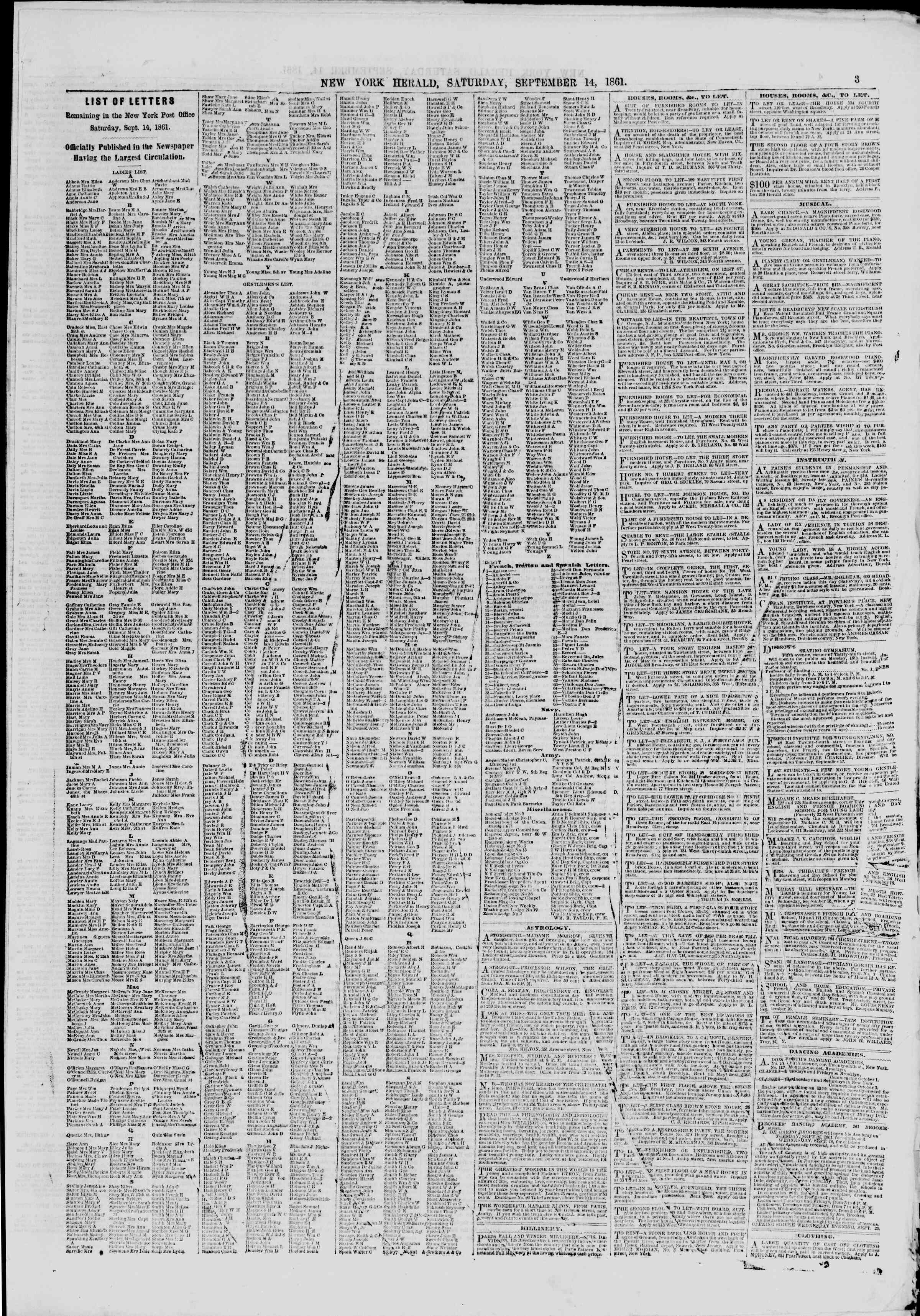 Newspaper of The New York Herald dated September 14, 1861 Page 3