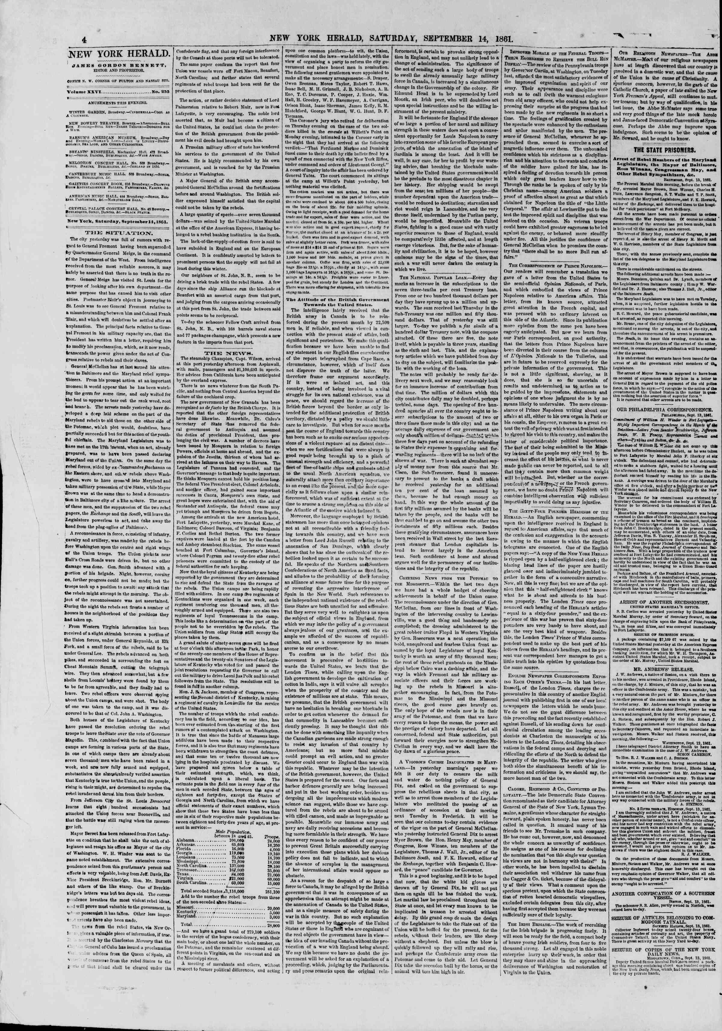 Newspaper of The New York Herald dated September 14, 1861 Page 4
