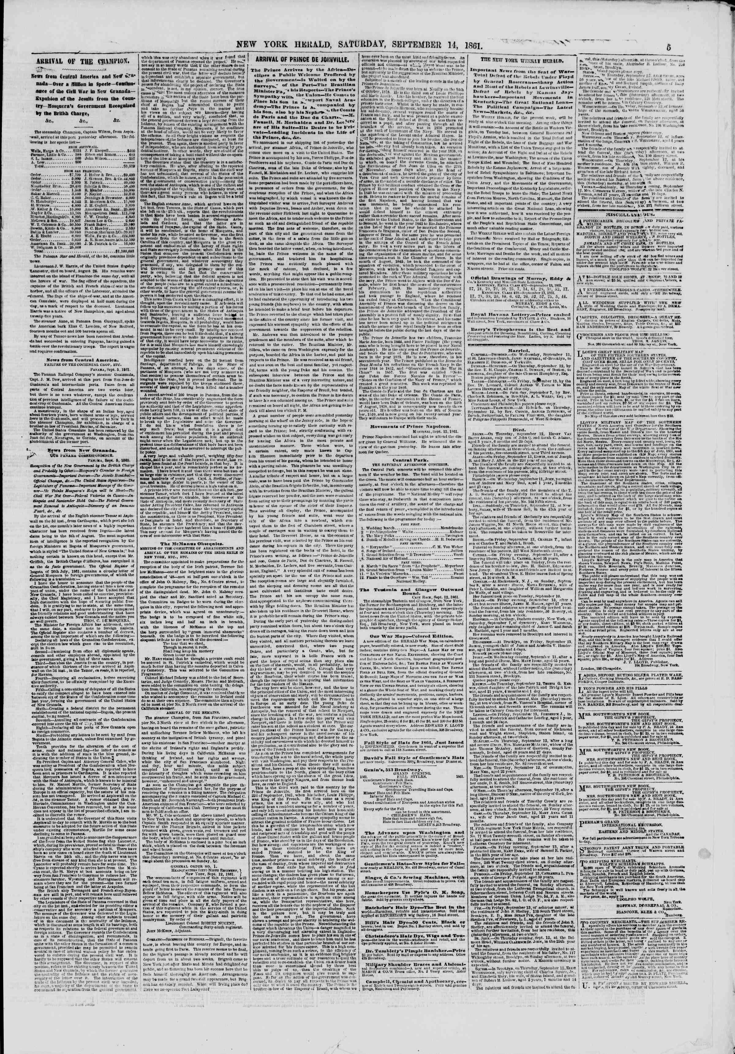 Newspaper of The New York Herald dated September 14, 1861 Page 5