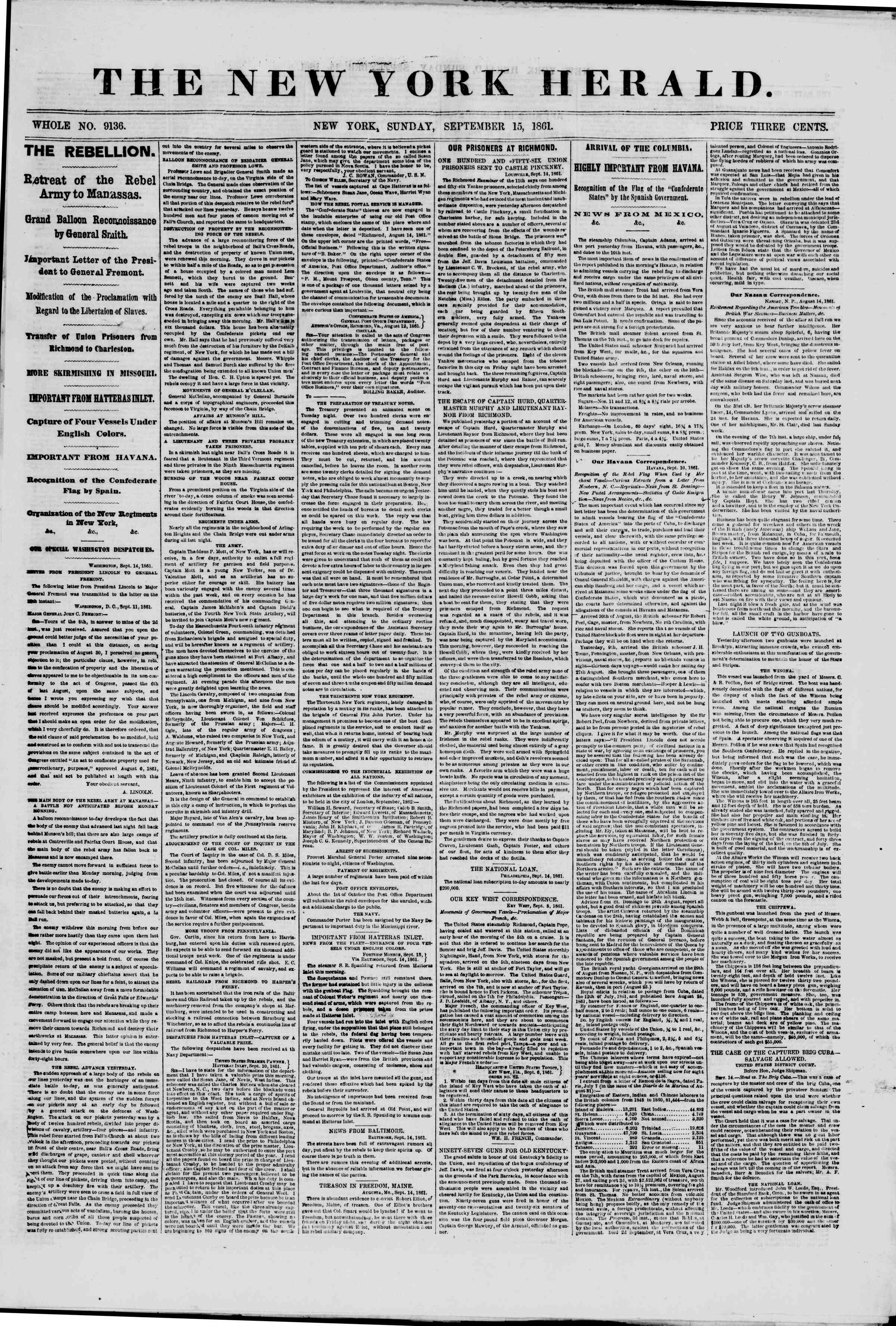 Newspaper of The New York Herald dated September 15, 1861 Page 1