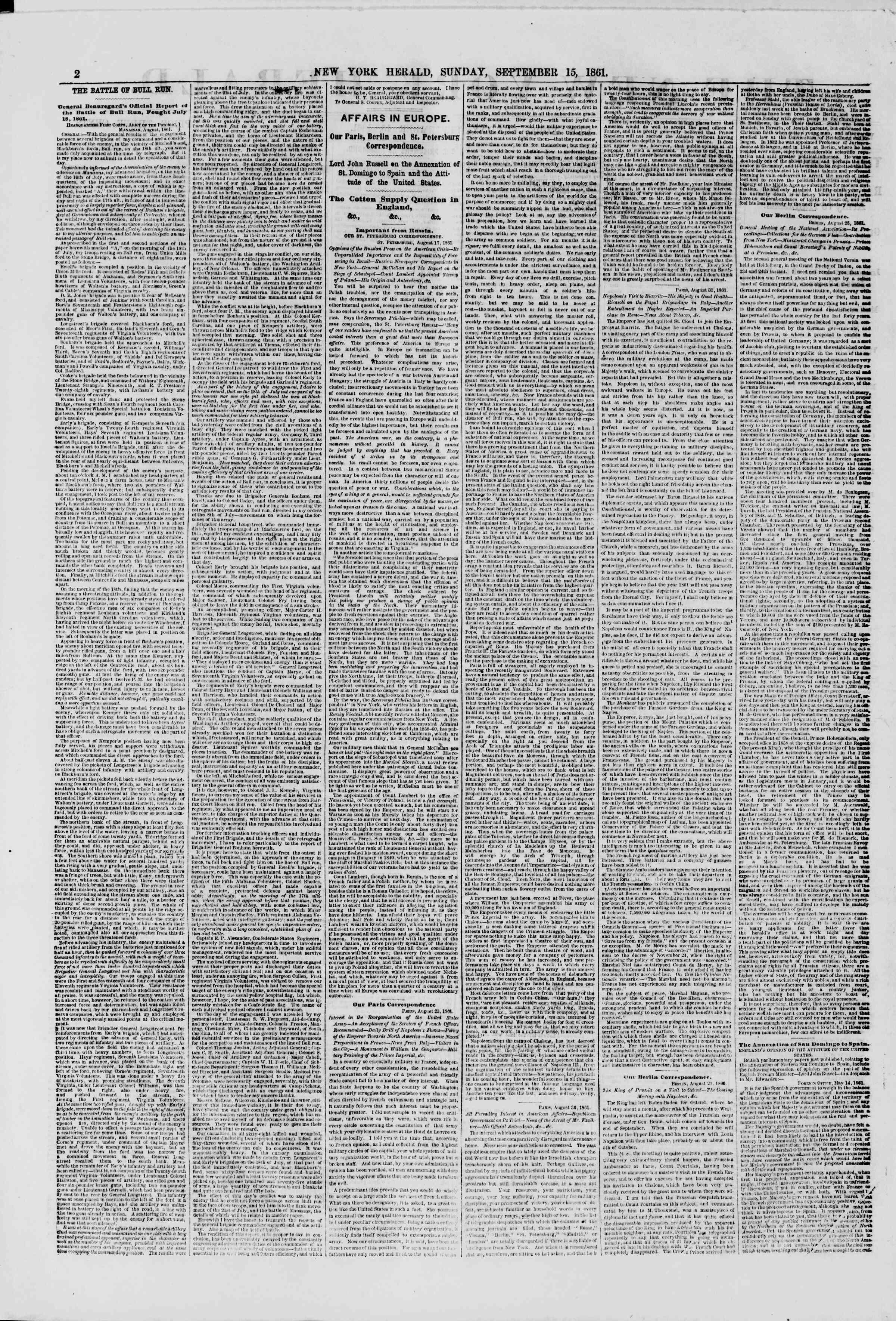 15 Eylül 1861 tarihli The New York Herald Gazetesi Sayfa 2