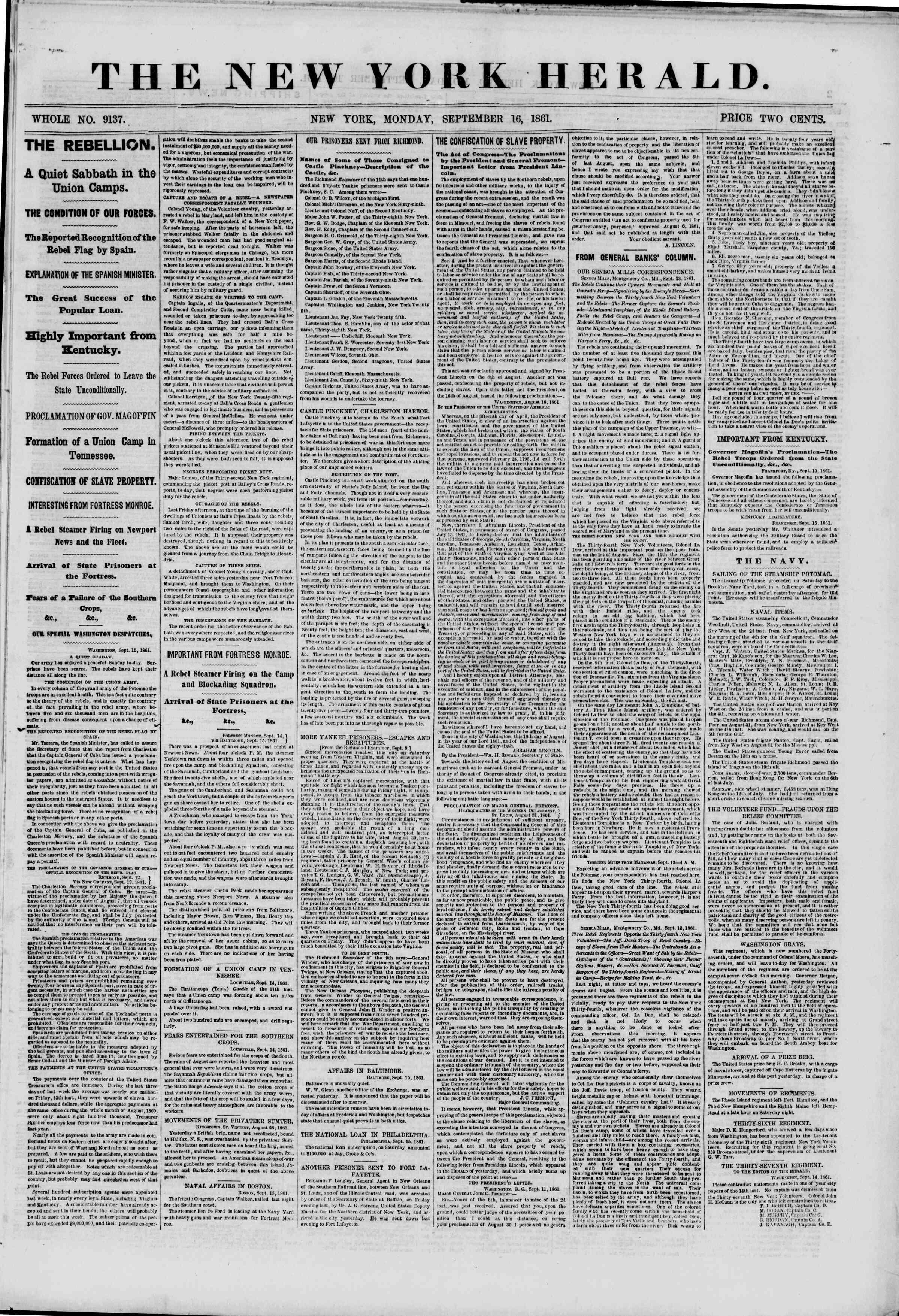16 Eylül 1861 tarihli The New York Herald Gazetesi Sayfa 1