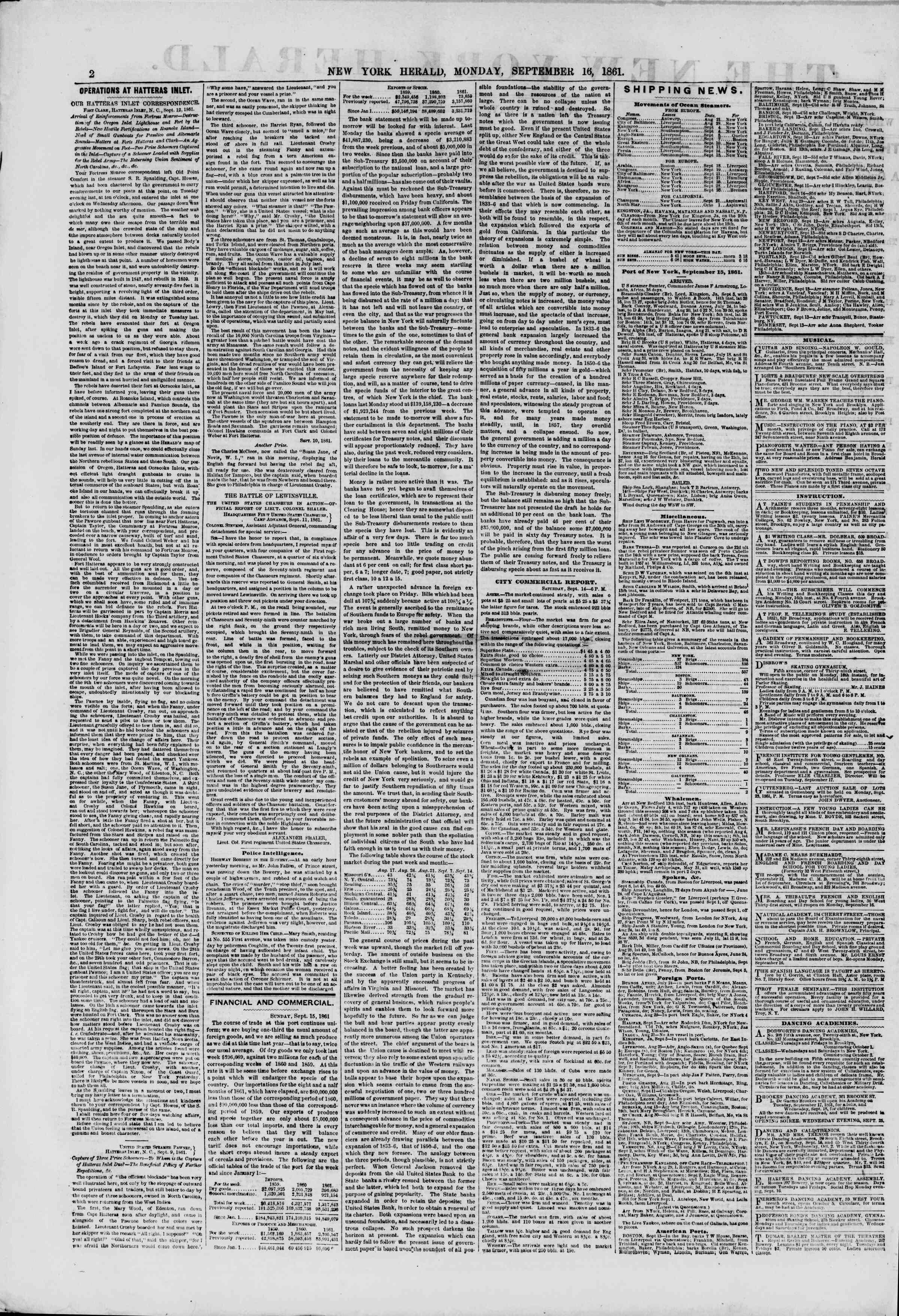 16 Eylül 1861 tarihli The New York Herald Gazetesi Sayfa 2