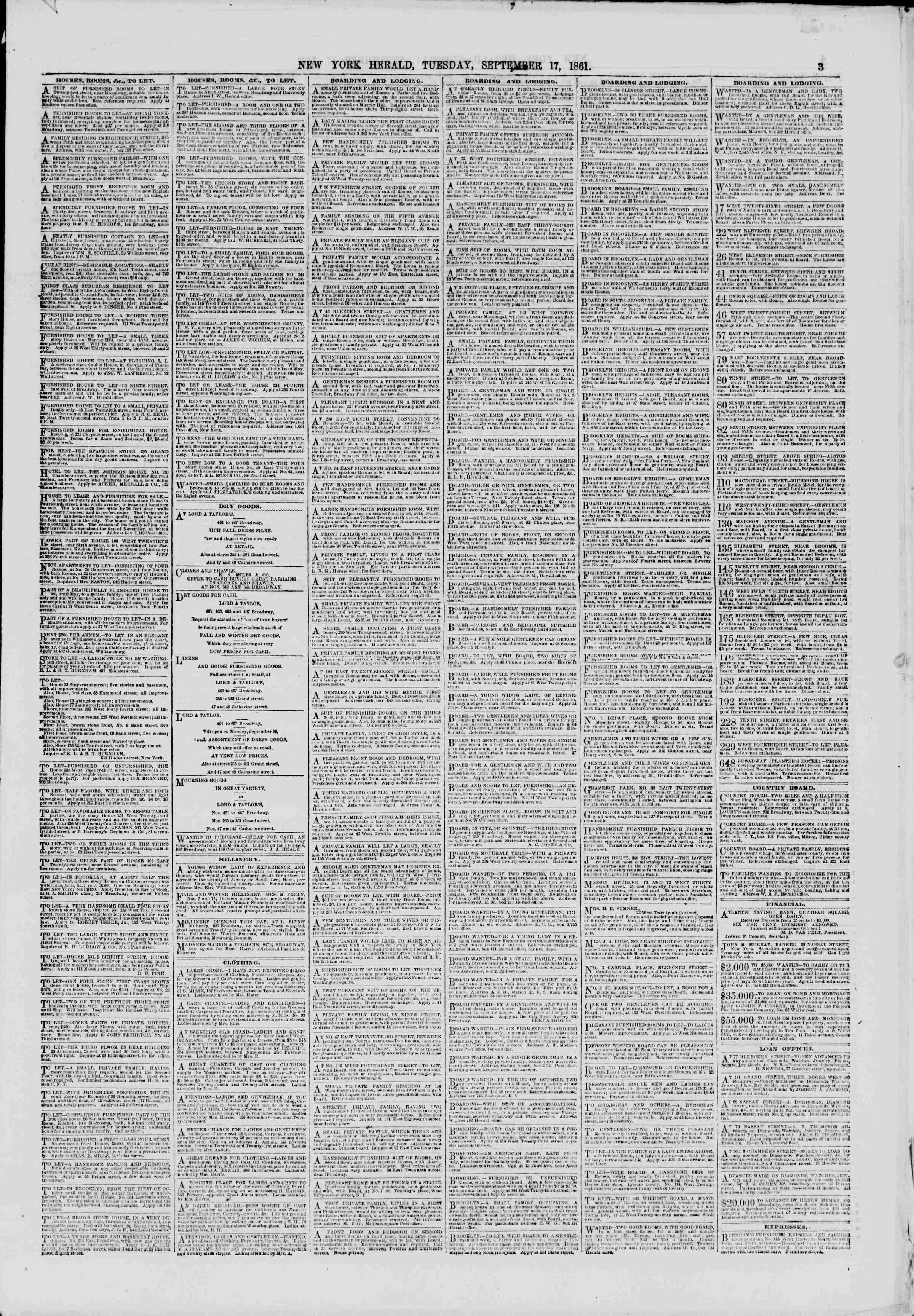 Newspaper of The New York Herald dated September 17, 1861 Page 3