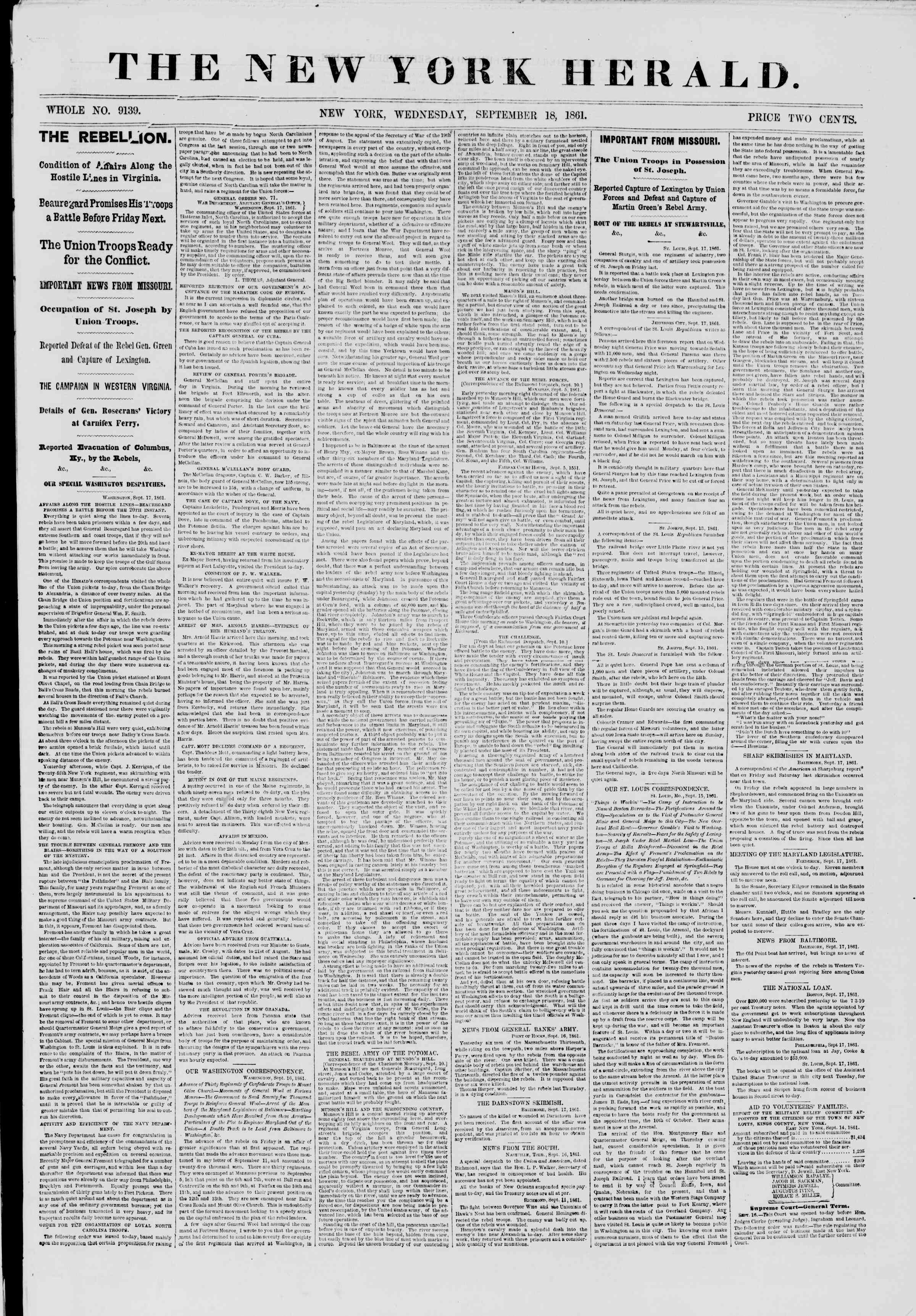 Newspaper of The New York Herald dated September 18, 1861 Page 1