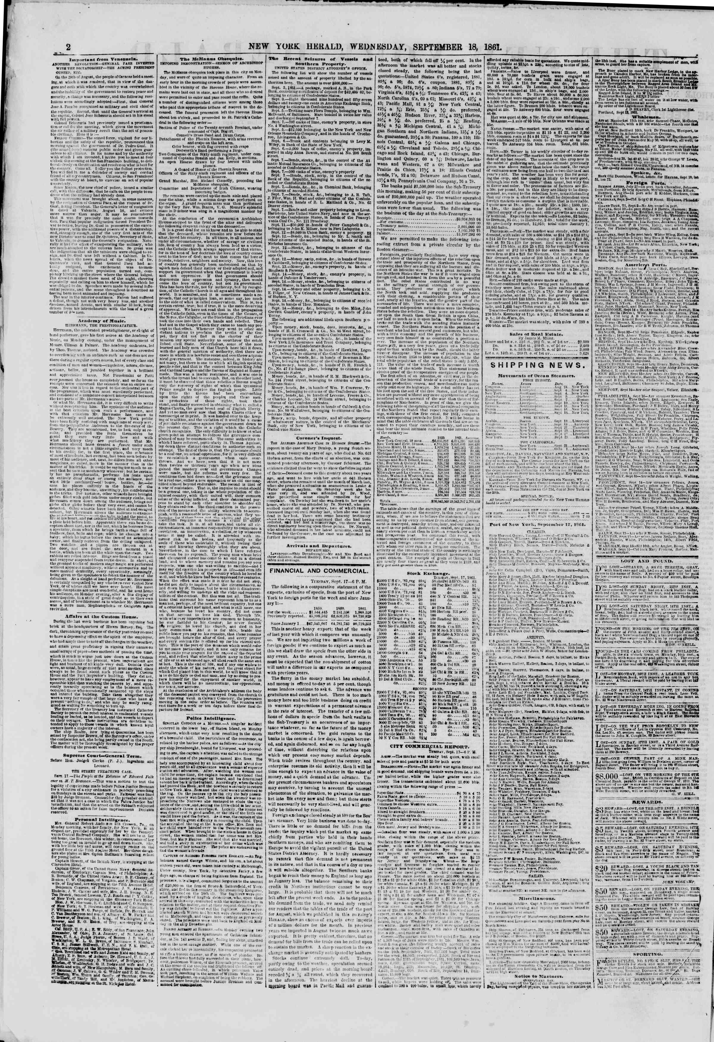 Newspaper of The New York Herald dated September 18, 1861 Page 2