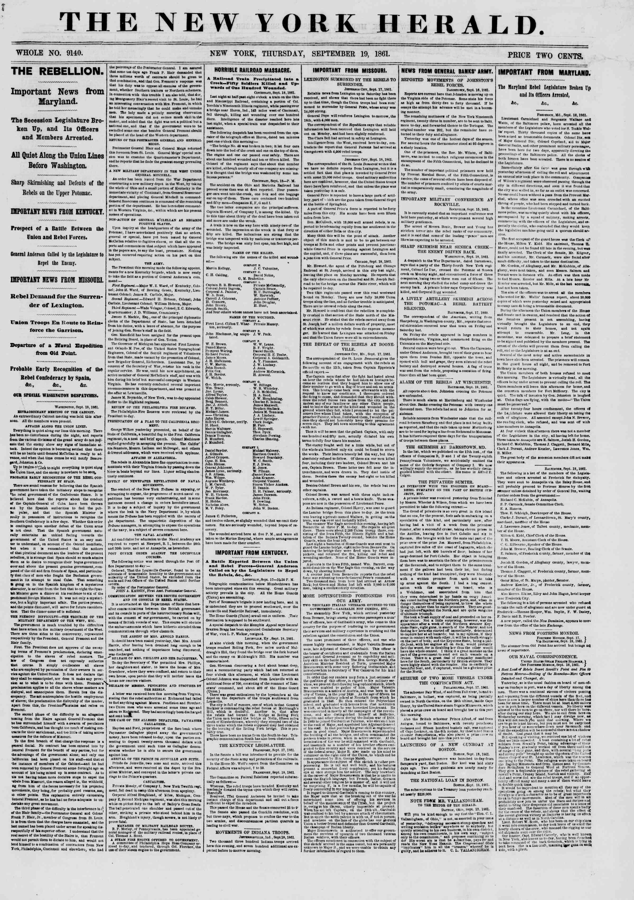 19 Eylül 1861 tarihli The New York Herald Gazetesi Sayfa 1