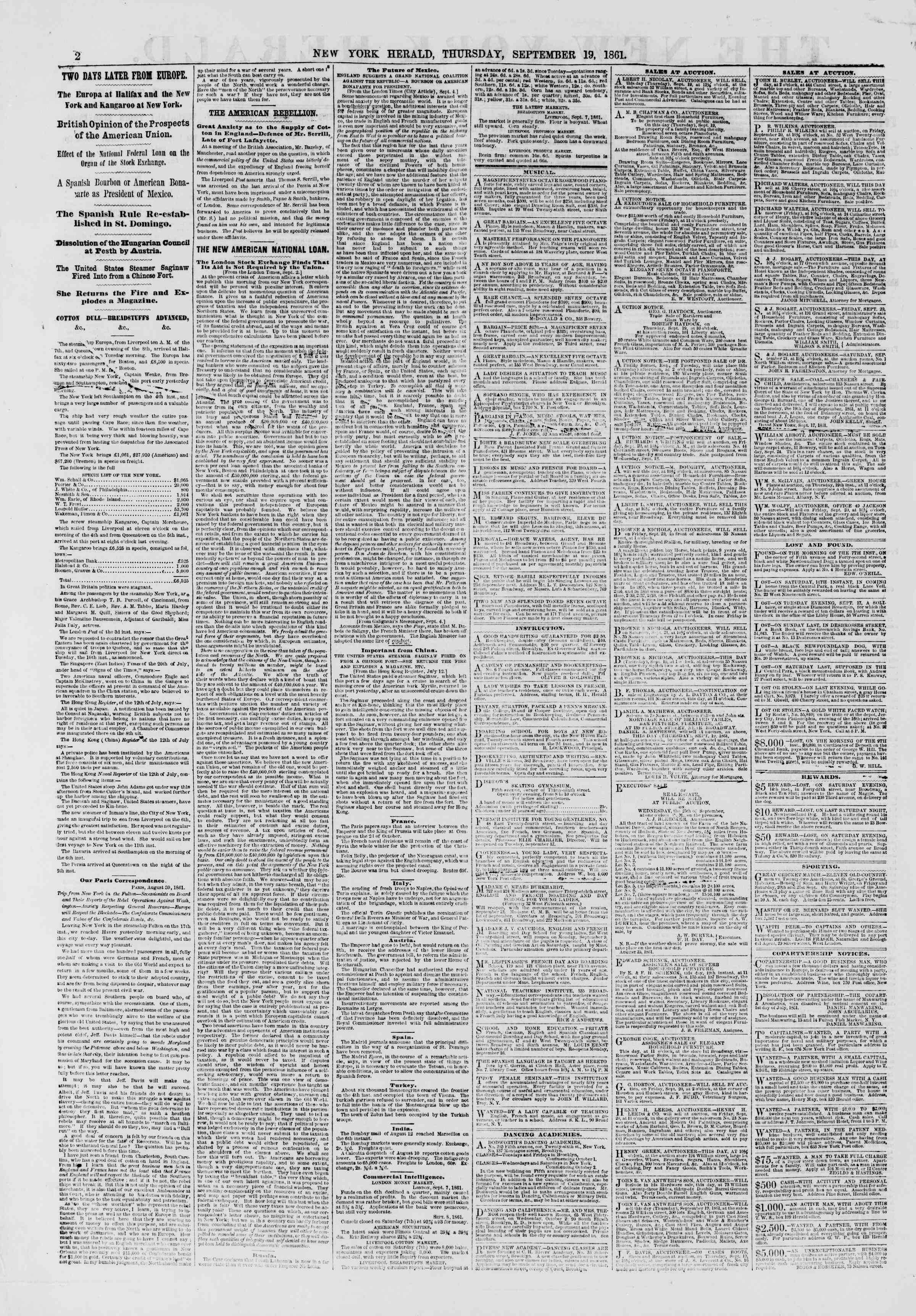 Newspaper of The New York Herald dated September 19, 1861 Page 2